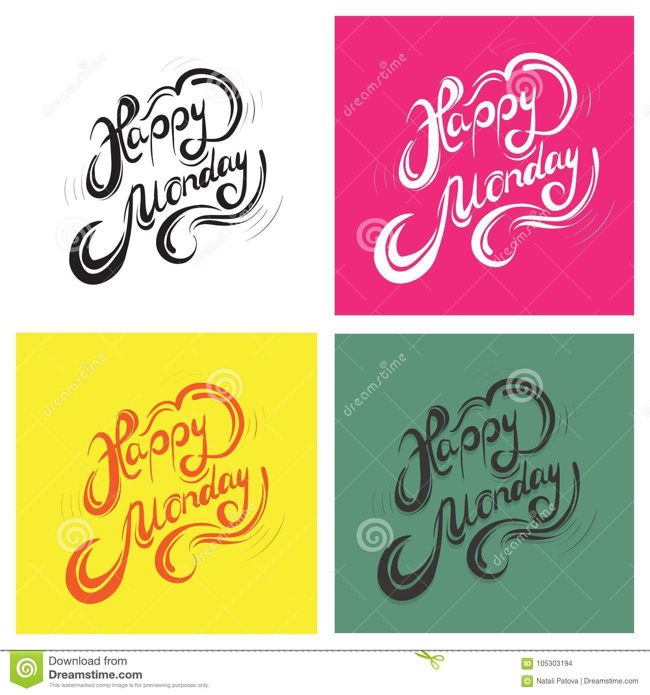 Happy Days Of The Week Card With Text Happy Monday Stock Vector