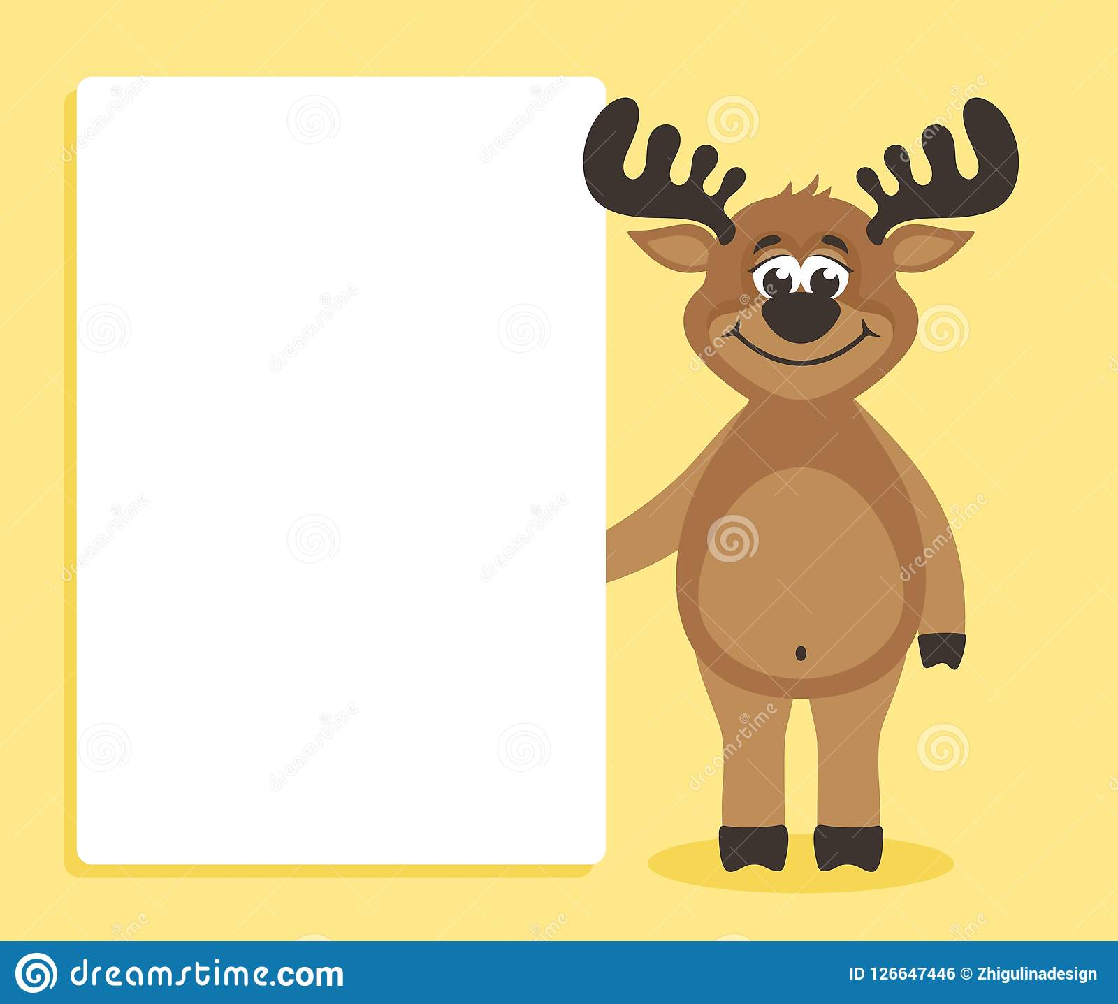 0cef97175b033 A Happy Deer Holding Blank Paper For Your Text. Stock Illustration ...