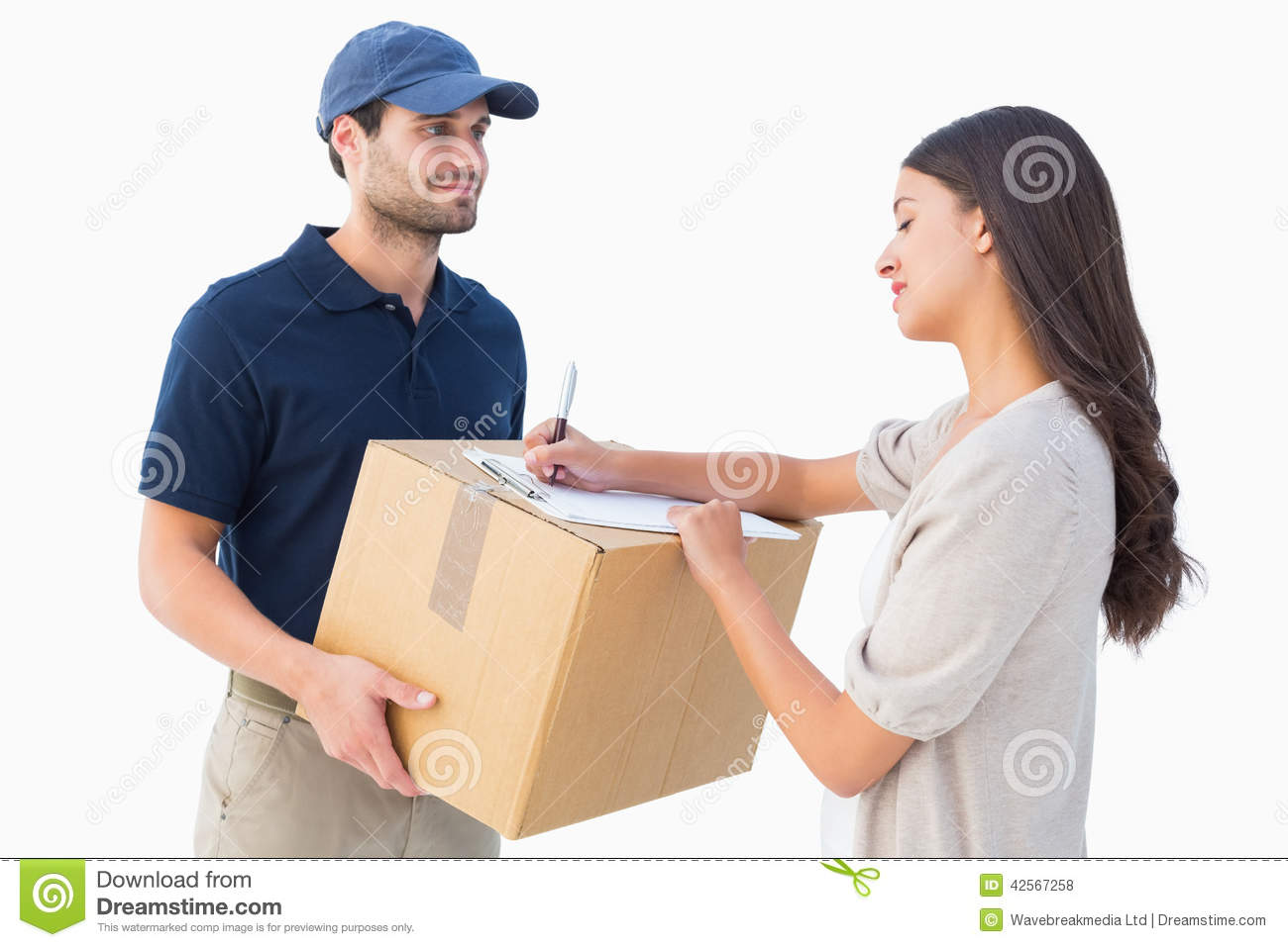happy delivery man with customer stock photo image of shot white