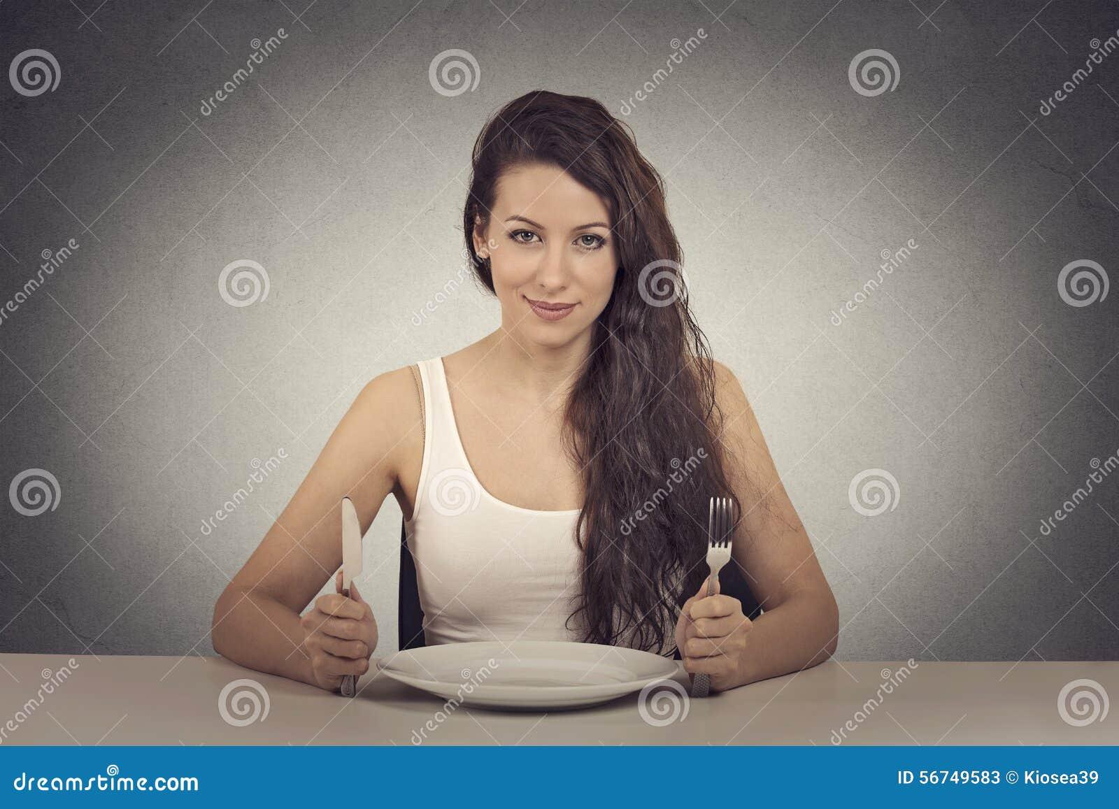 Happy dieting woman