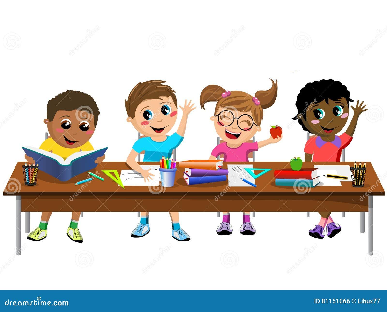 Kids working at desk