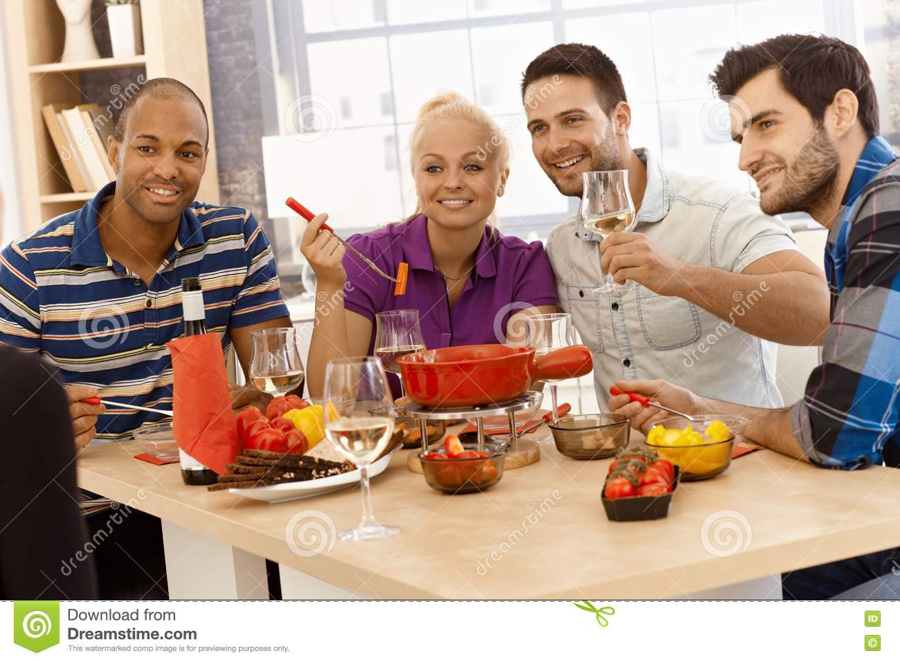 happy dinner with friends stock image image of afro 74339735. Black Bedroom Furniture Sets. Home Design Ideas