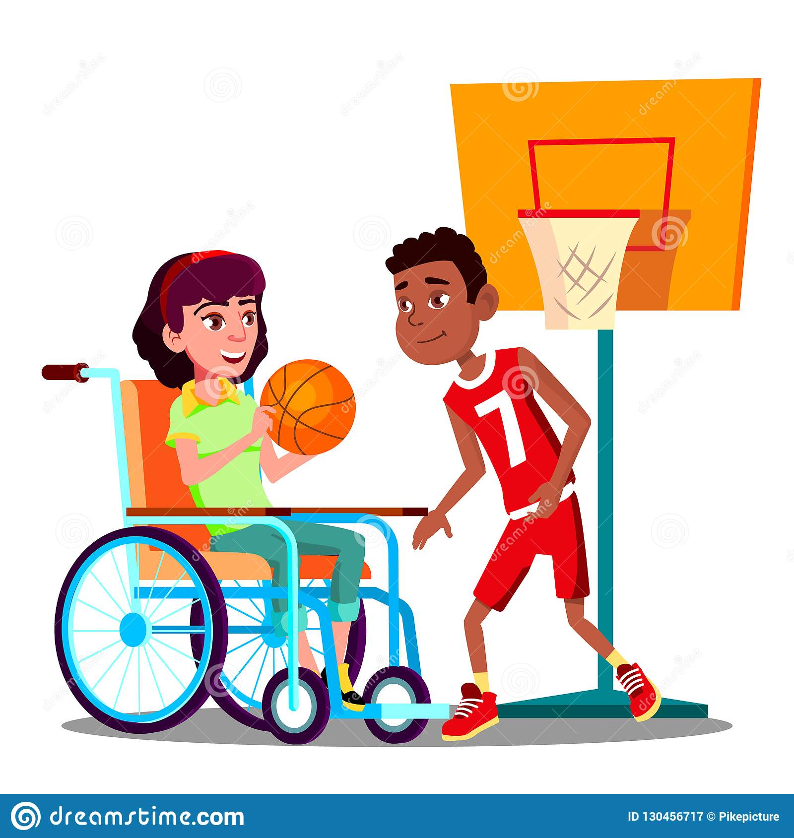 Happy Disabled Girl On Wheelchair Playing Basketball With Friend Vector. Isolated Illustration