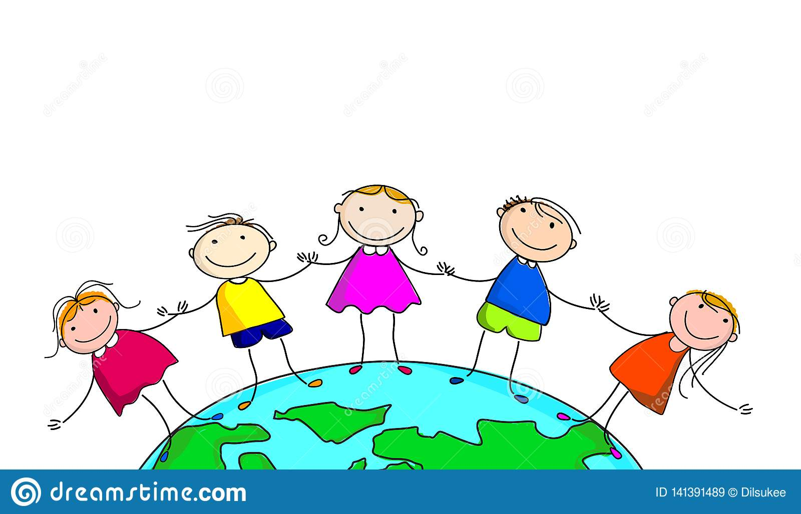 Happy Kids And Earth. Cartoon.on White Background Stock