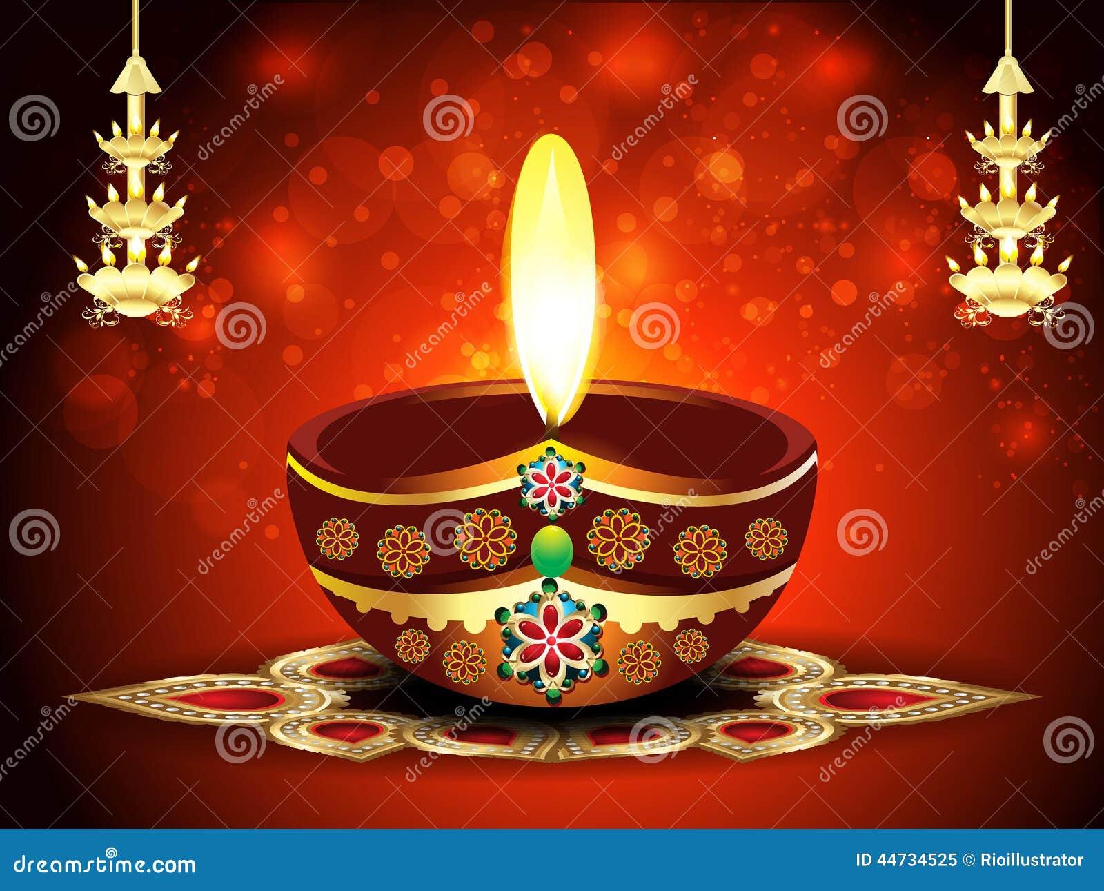 Happy diwali background with deepak stock vector image