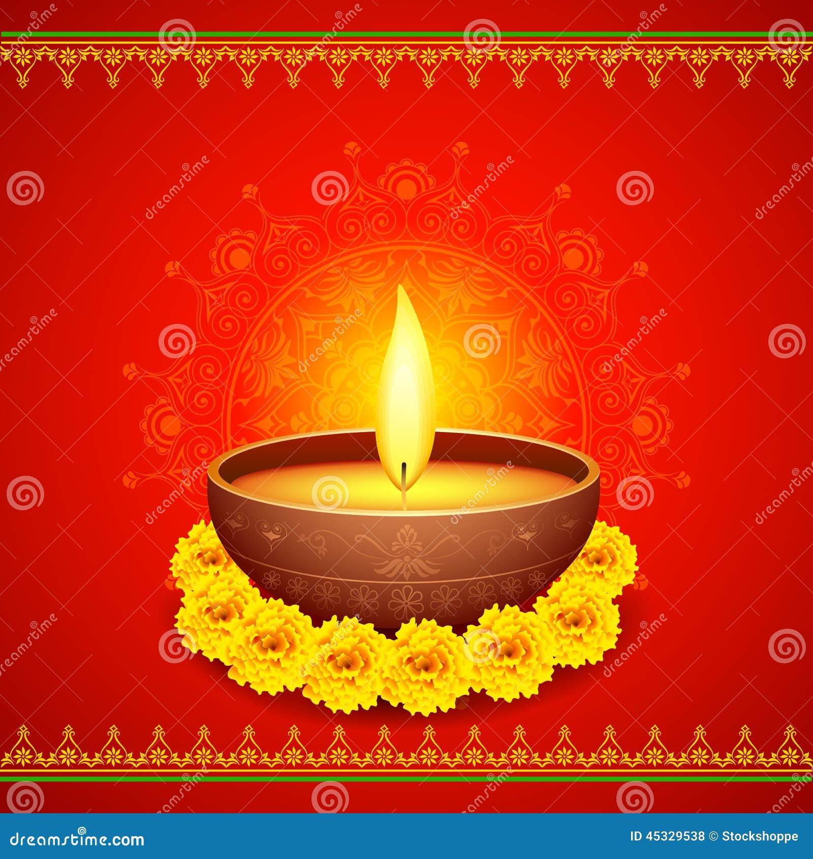 Happy Diwali Diya stock vector. Illustration of deepavali - 45329538 for diwali single diya wallpaper  103wja