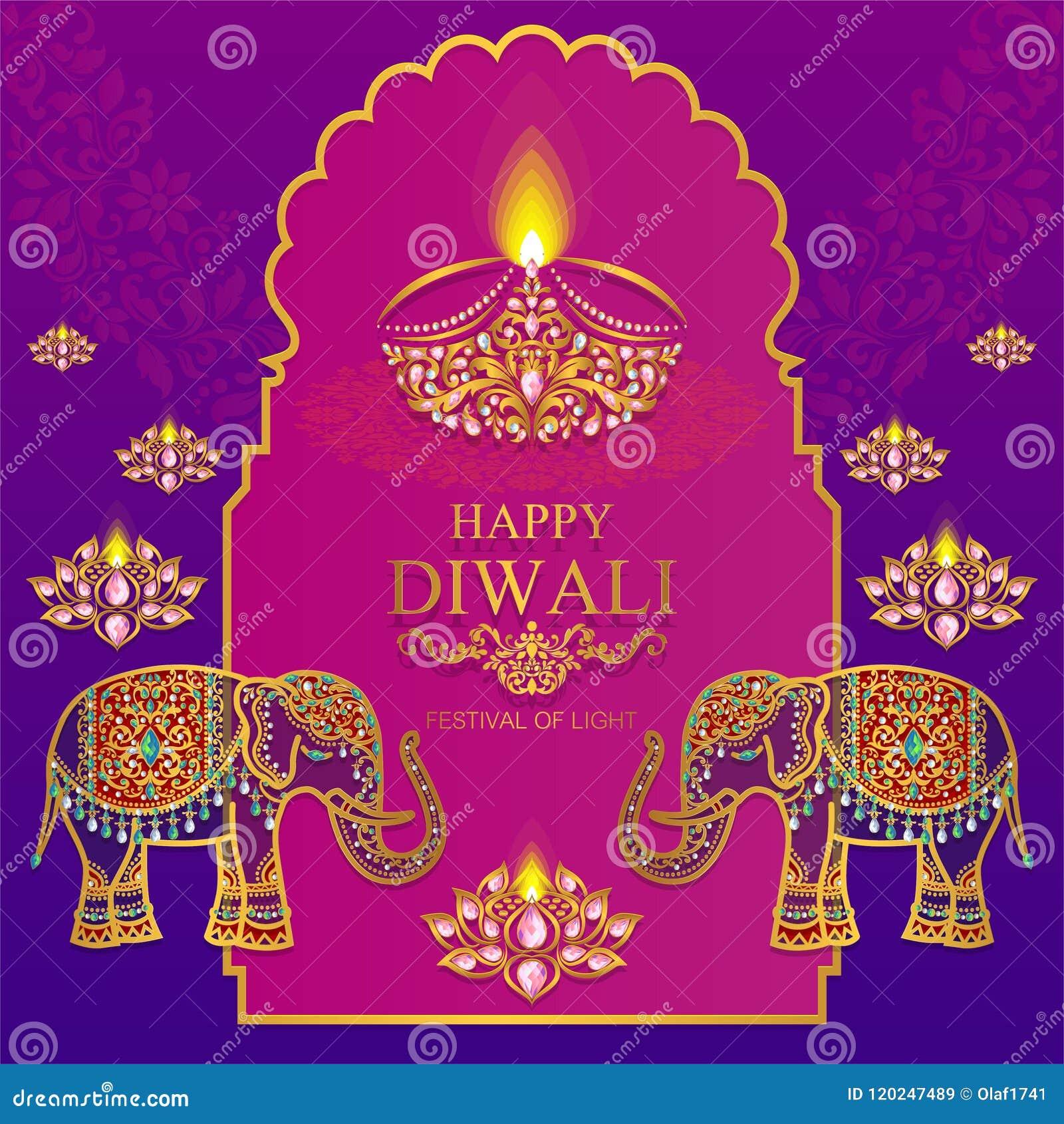 Happy Diwali Festival Card Stock Vector Illustration Of Editable