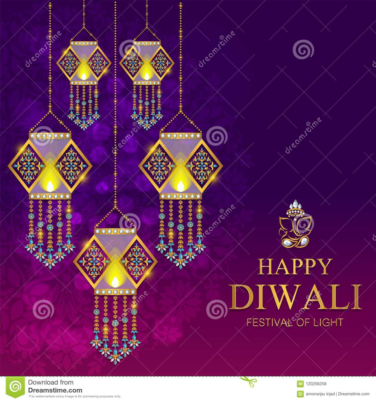 Happy Diwali Festival Card Stock Vector Illustration Of Happiness