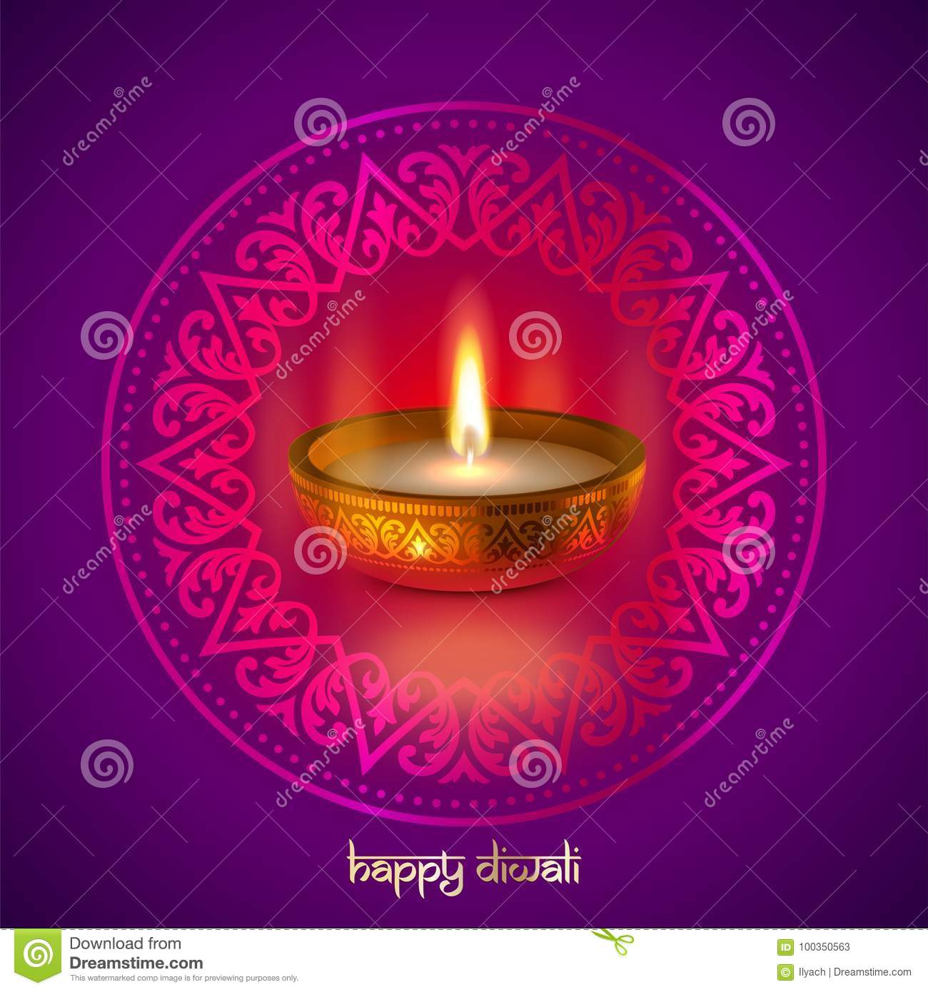 Happy Diwali Gold Candle Light Indian Festival Greeting Card Vector