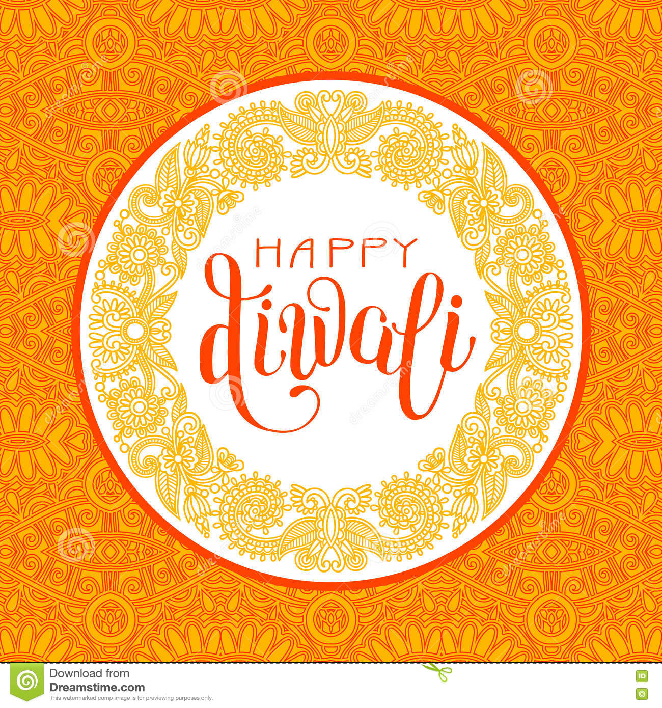 Happy Diwali Greeting Card With Circle Ornamental Background Stock