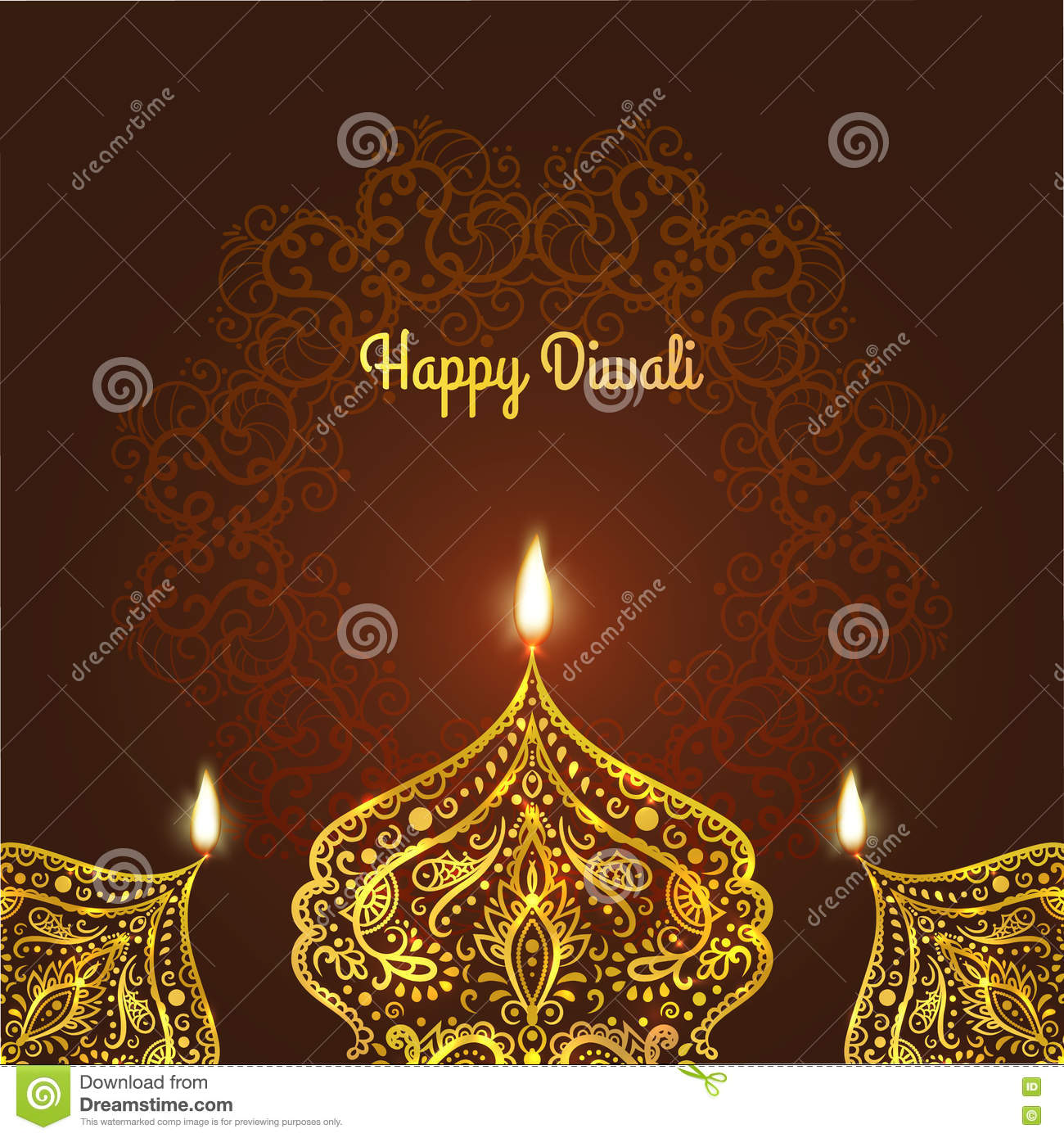 Happy Diwali Greeting Card Design For Diwali Festival With
