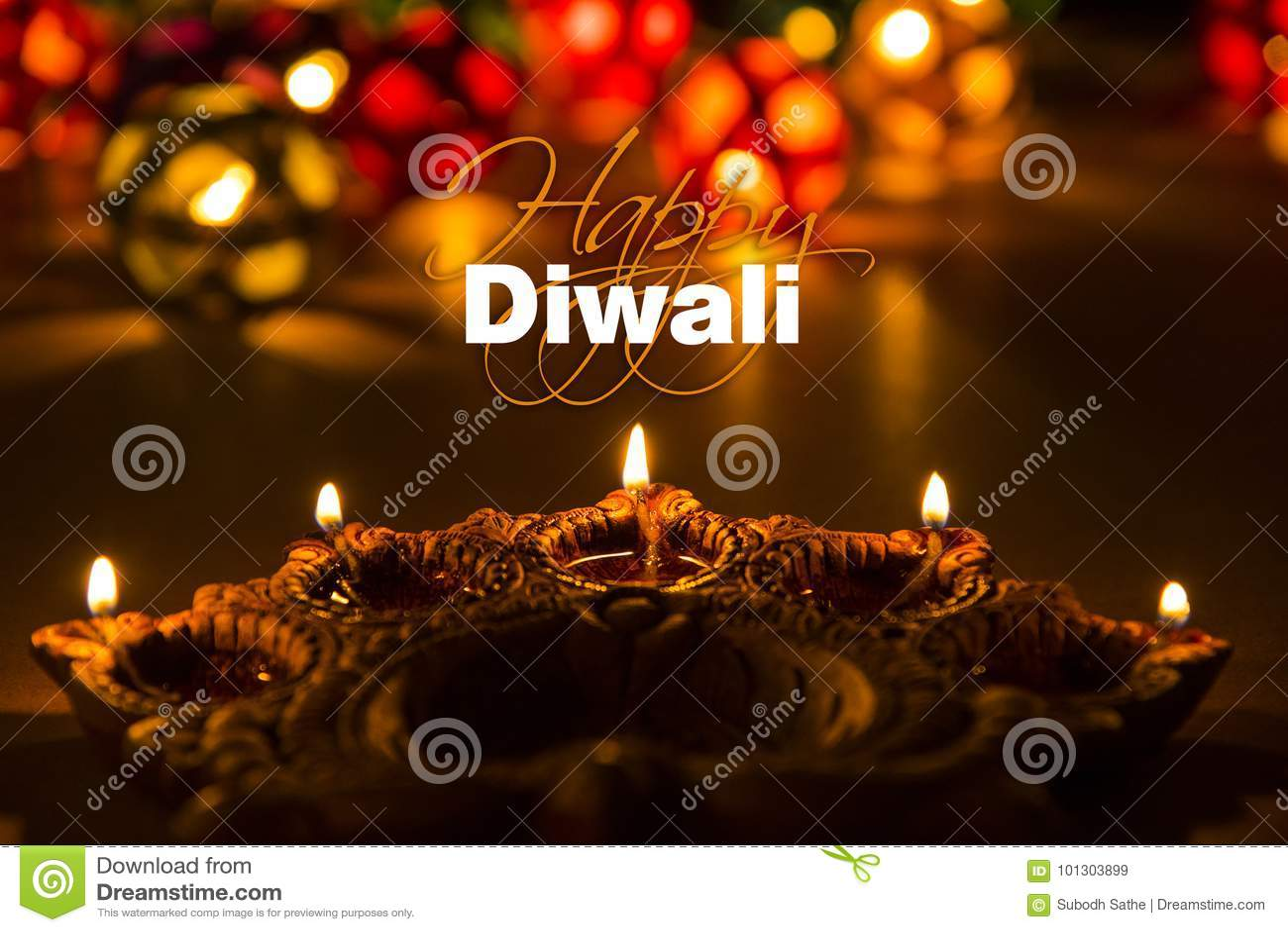 Happy Diwali Diwali Greeting Card With Illuminated Diya Stock