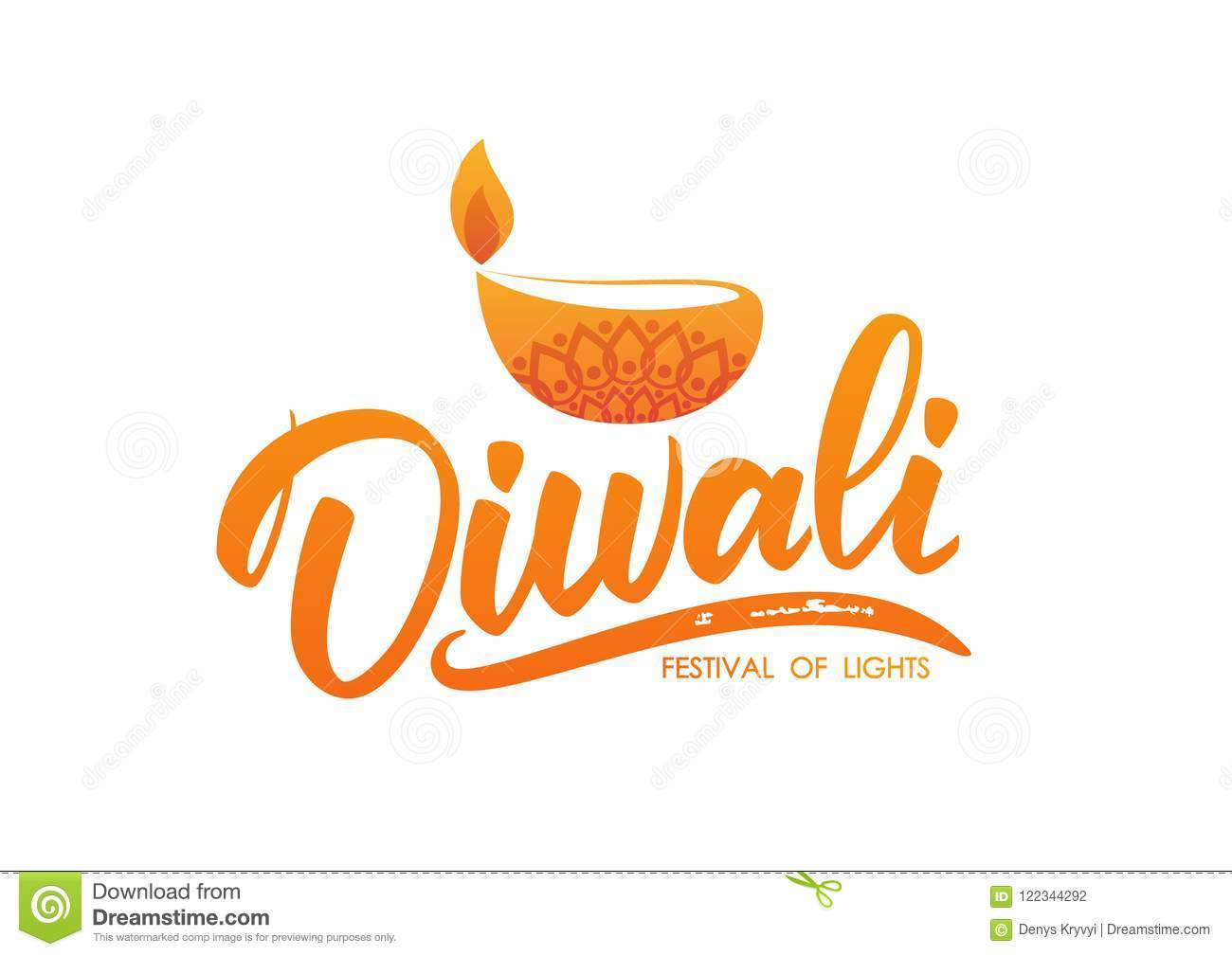 Happy Diwali Greeting Type With Oil Lamp And Flame