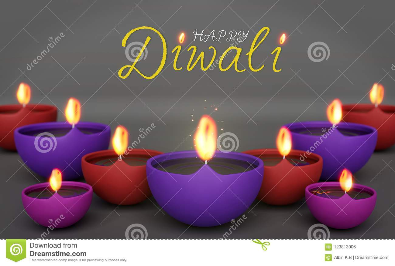 Happy diwali greetings with burning lamps 3d rendering stock happy diwali greetings with burning lamps 3d rendering m4hsunfo