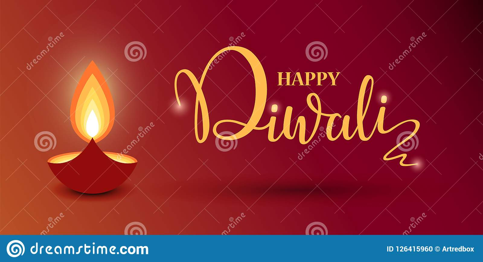 Happy Diwali lettering wallpaper design template. illustration of burning Diwali diya for light festival of India.