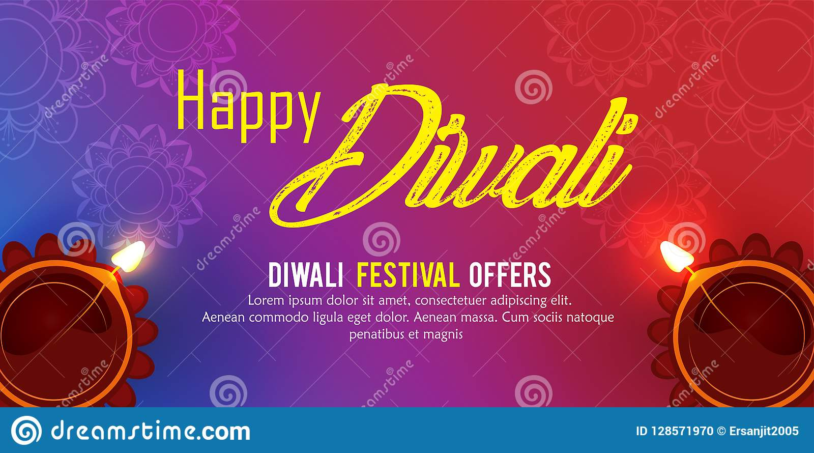 Happy Diwali Poster Header Banner Or Greeting Card Design Stock