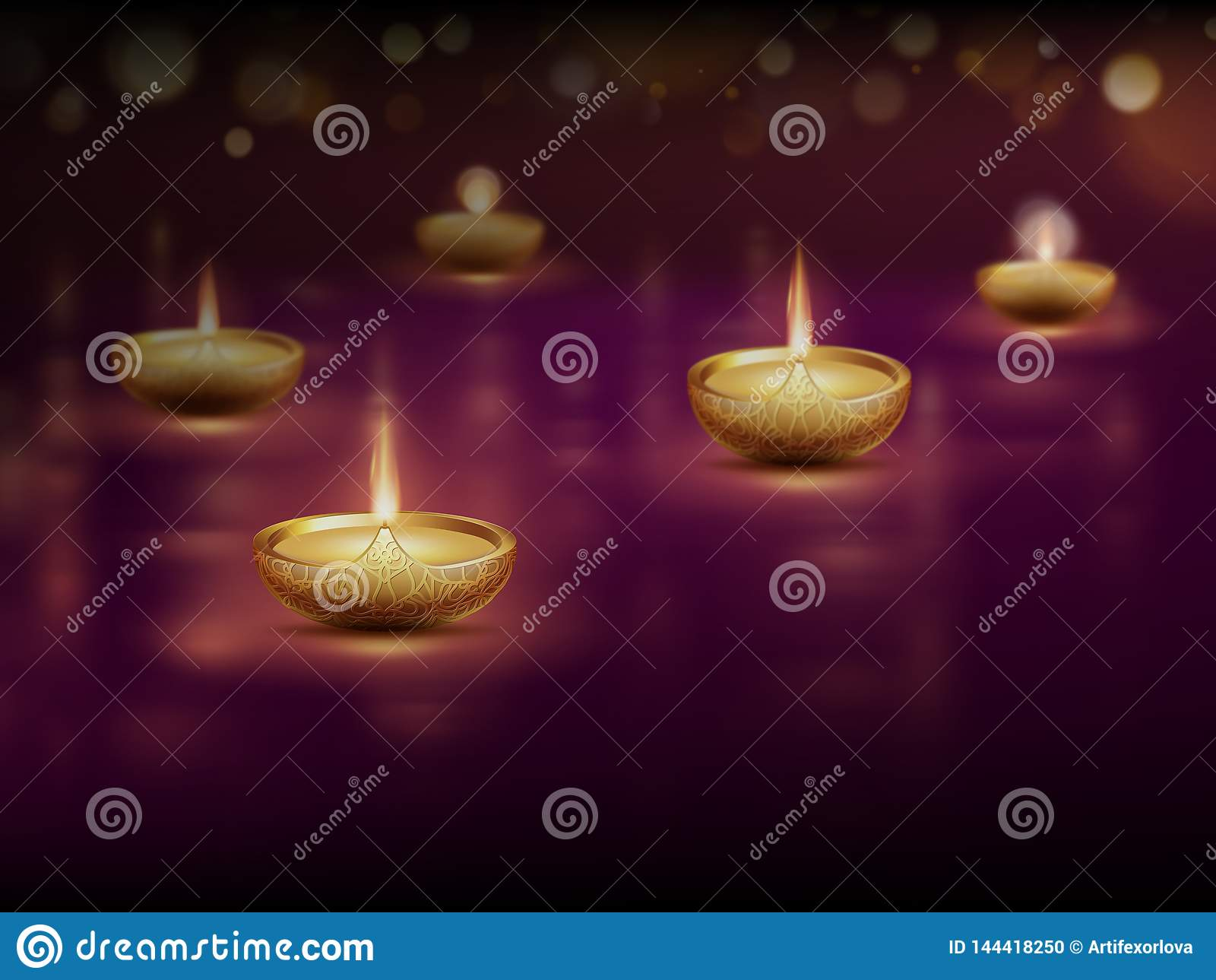 Happy Diwali Poster Template With Burning Diya Oil Lamps Candles