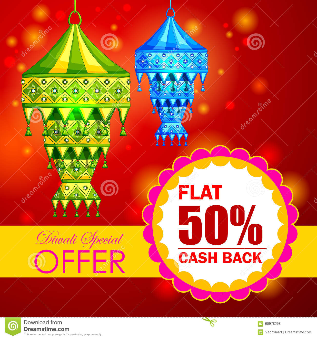 Happy Diwali Promotion Background With Kandil Hanging Lamp