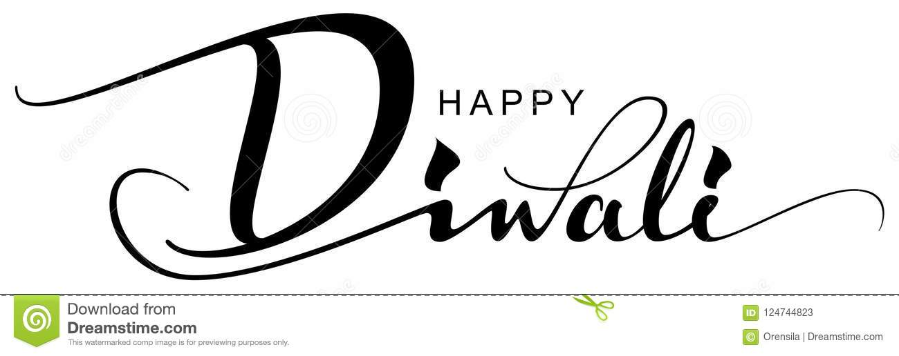 Happy Diwali text greeting card indian holiday festival of lights