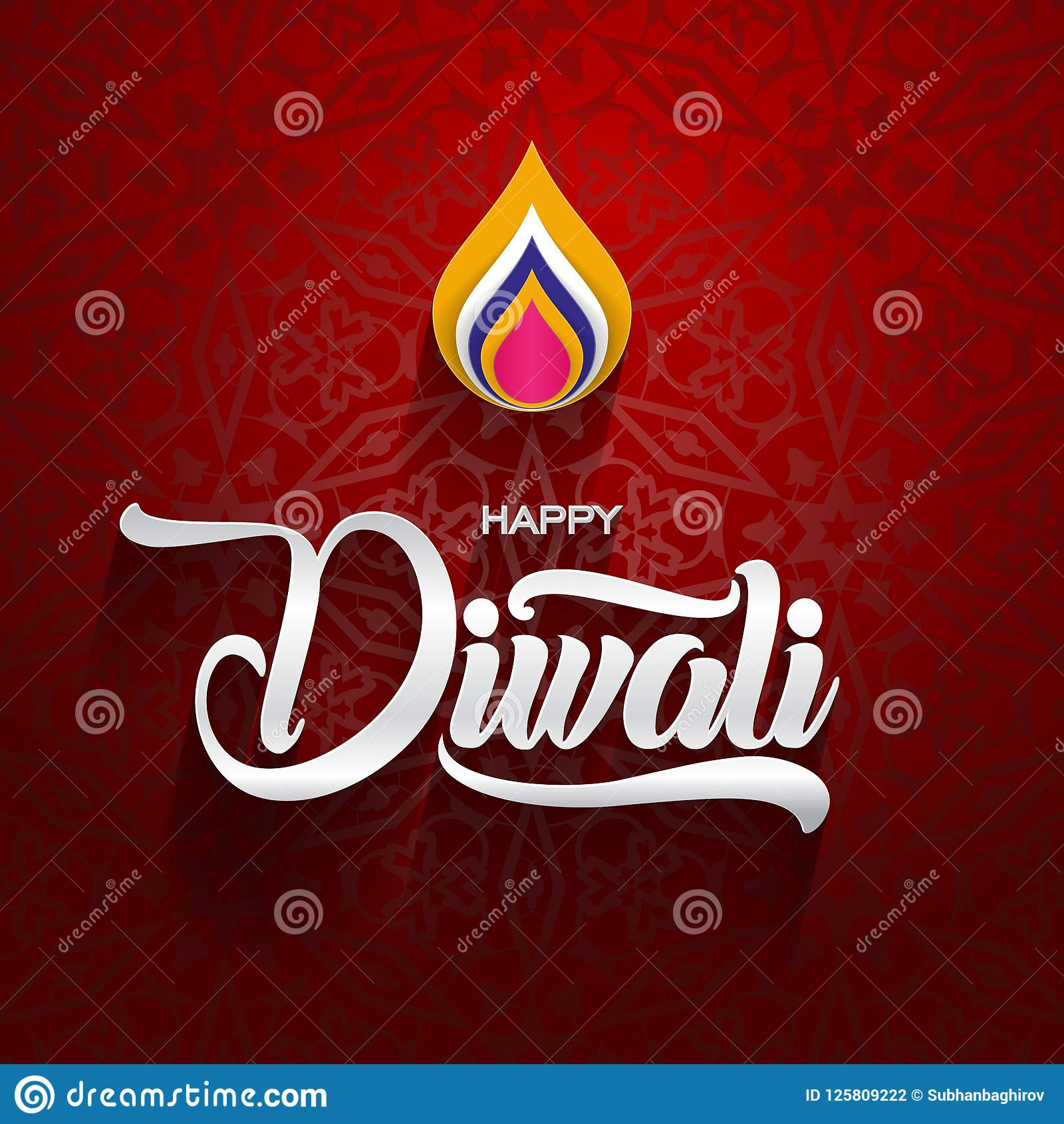 Happy diwali traditional indian festival greeting card with ornament download happy diwali traditional indian festival greeting card with ornament background vector illustration stock vector m4hsunfo