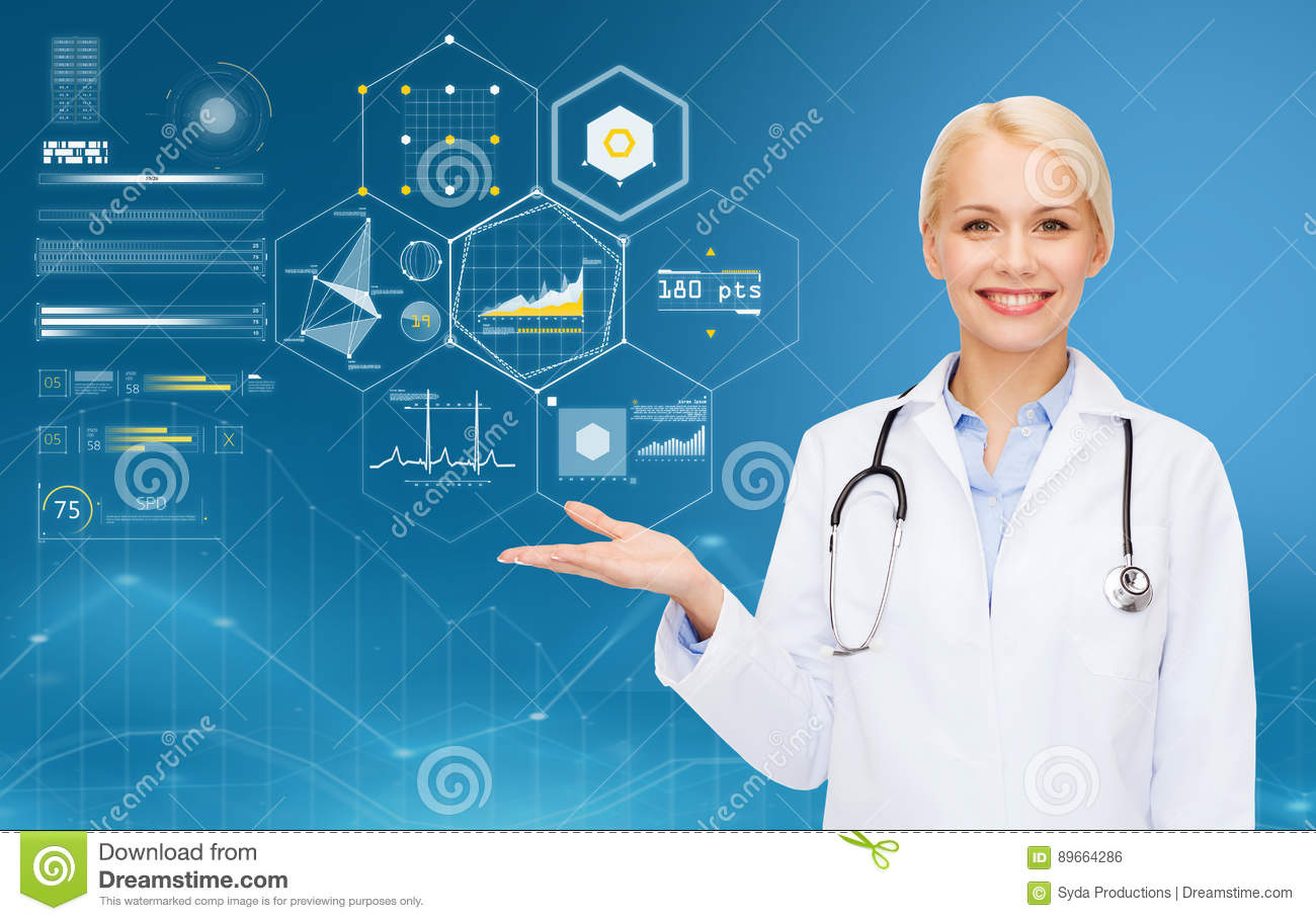 Happy doctor with stethoscope and charts over blue