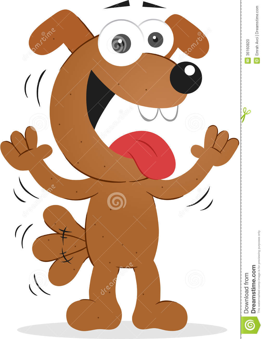 Cartoon funny dog happy with wagging tail.