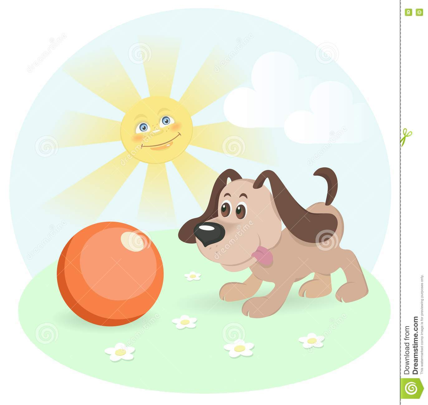 Happy Dog On Shiny Lawn Stock Vector. Illustration Of