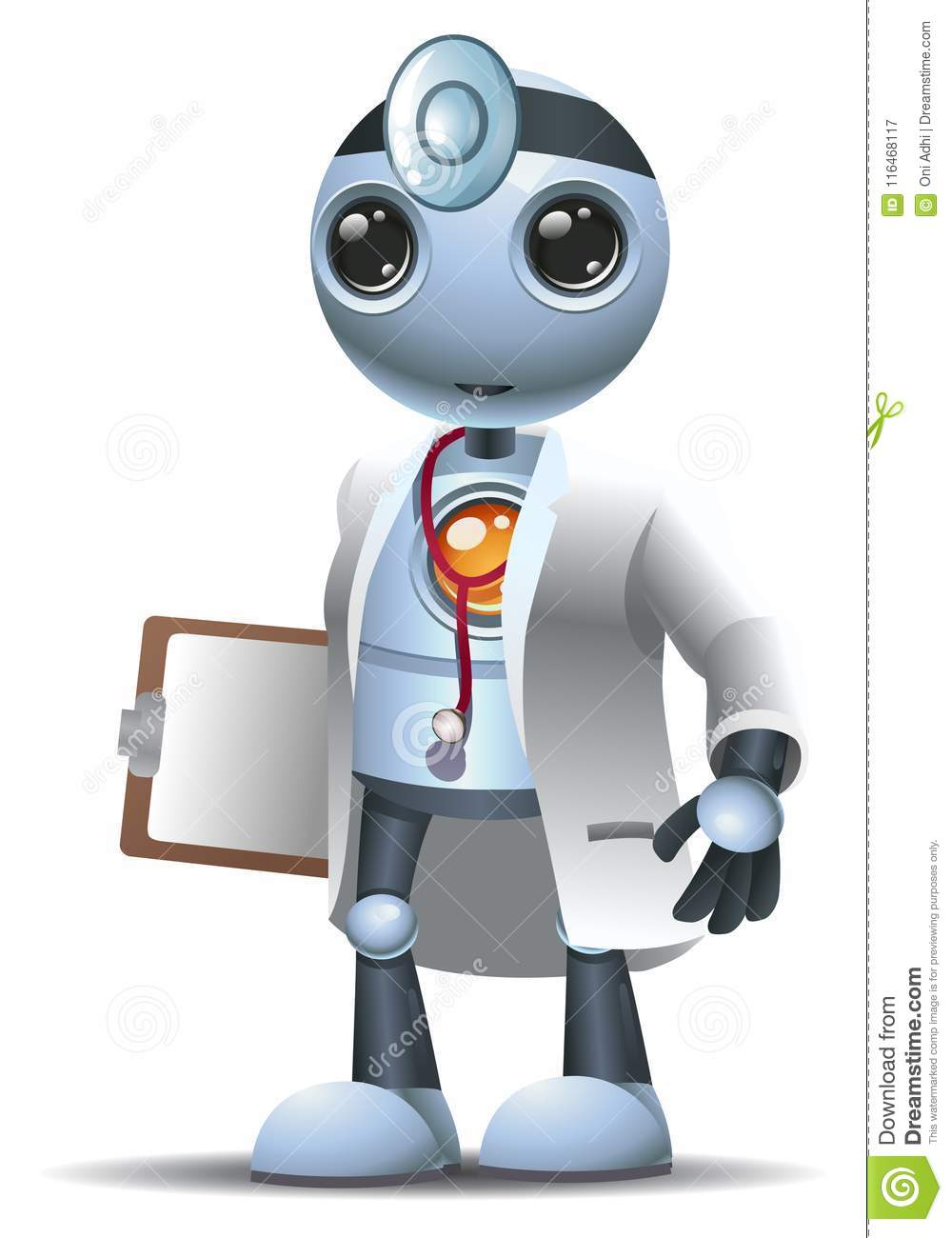 happy droid little robot surgery doctor on isolated white