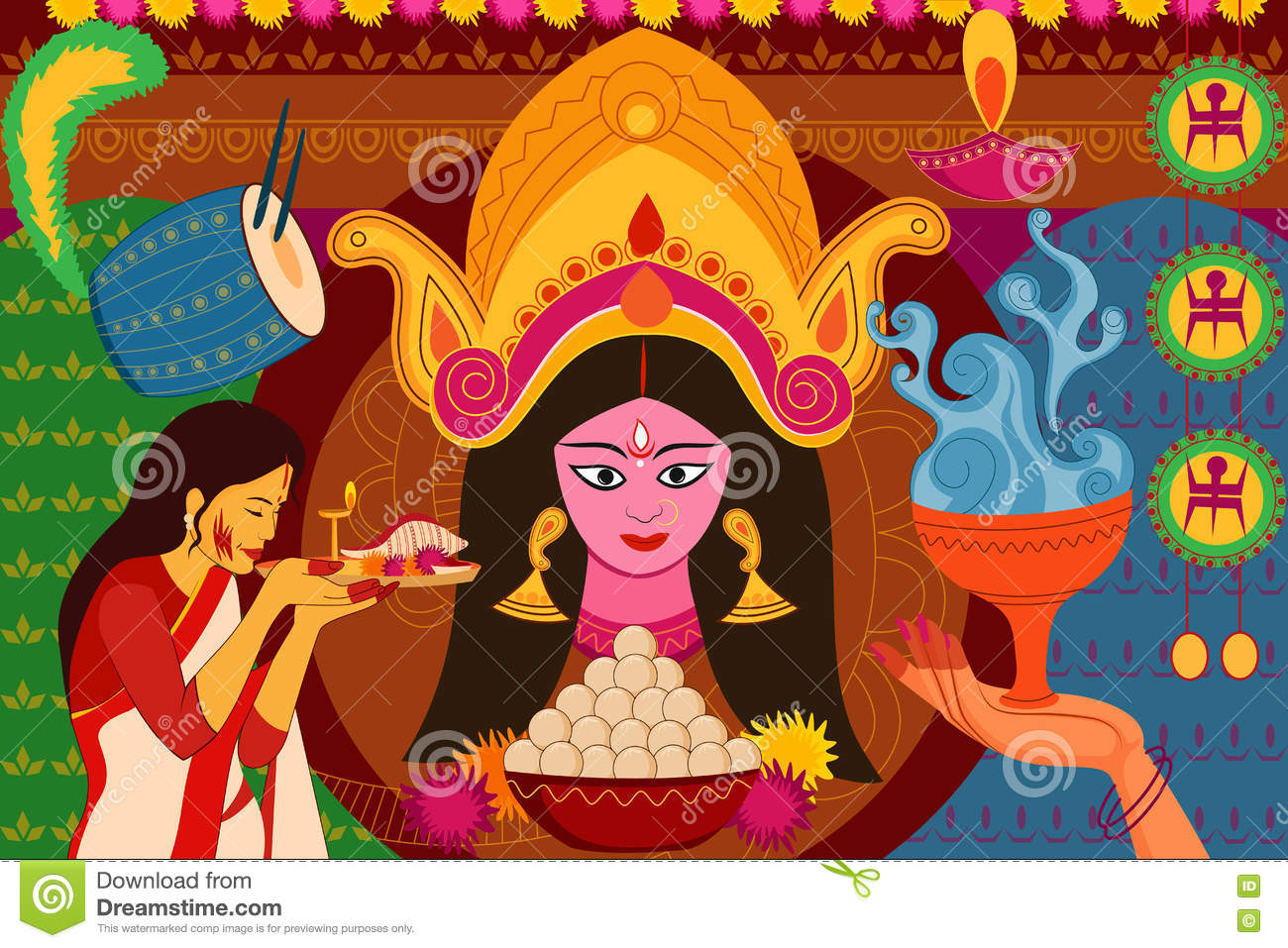 Happy Durga Puja Festival Background Kitsch Art India Stock Vector  Image: 77708754