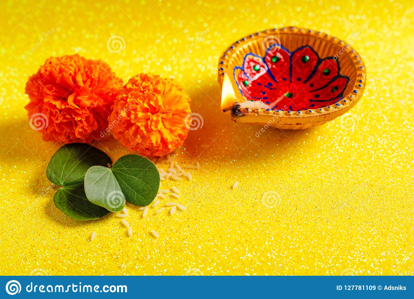 Happy Dussehra Greeting Card Green Leaf Stock Image Image Of