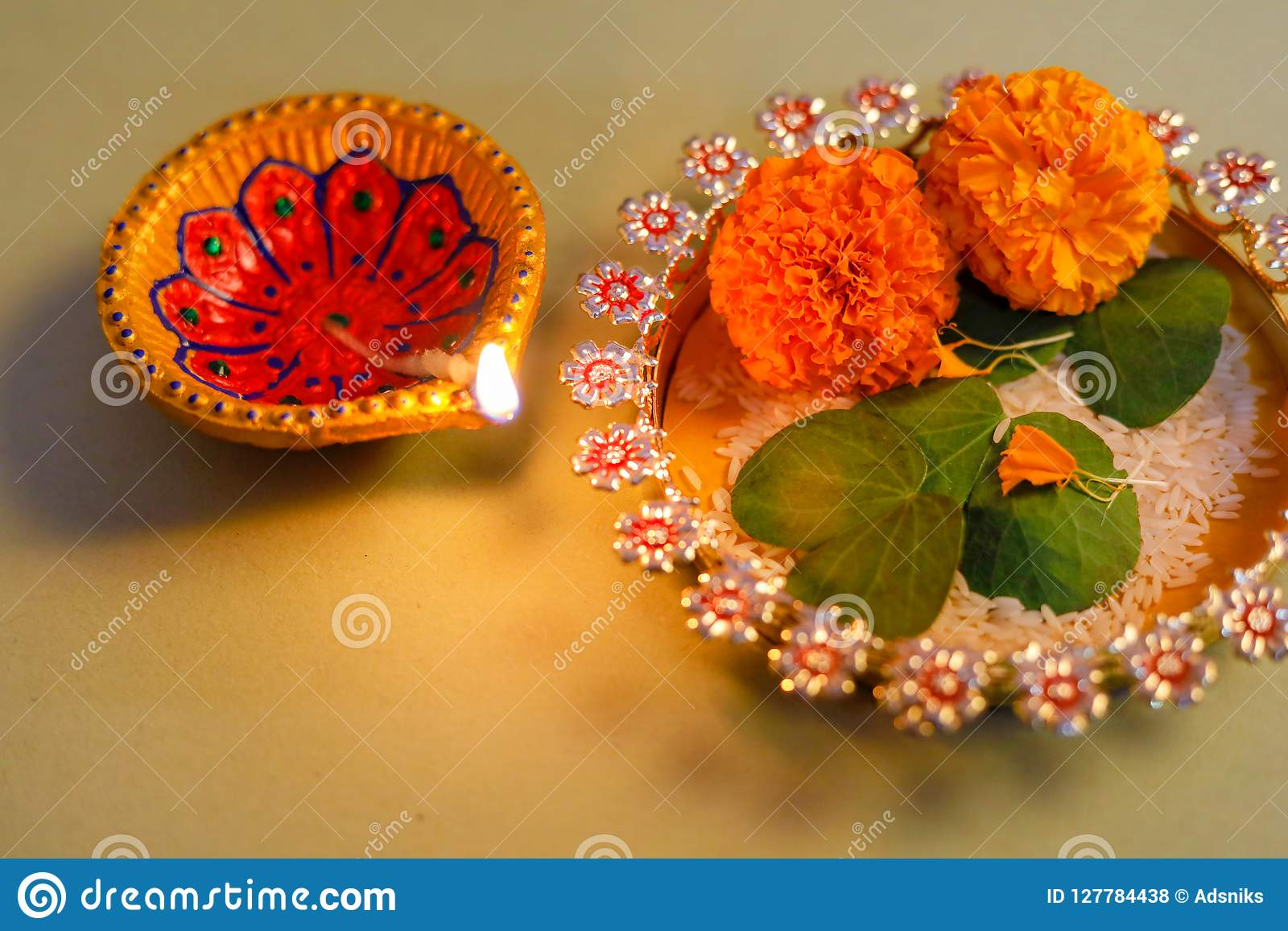Happy Dussehra Greeting Card Green Leaf Stock Photo Image Of
