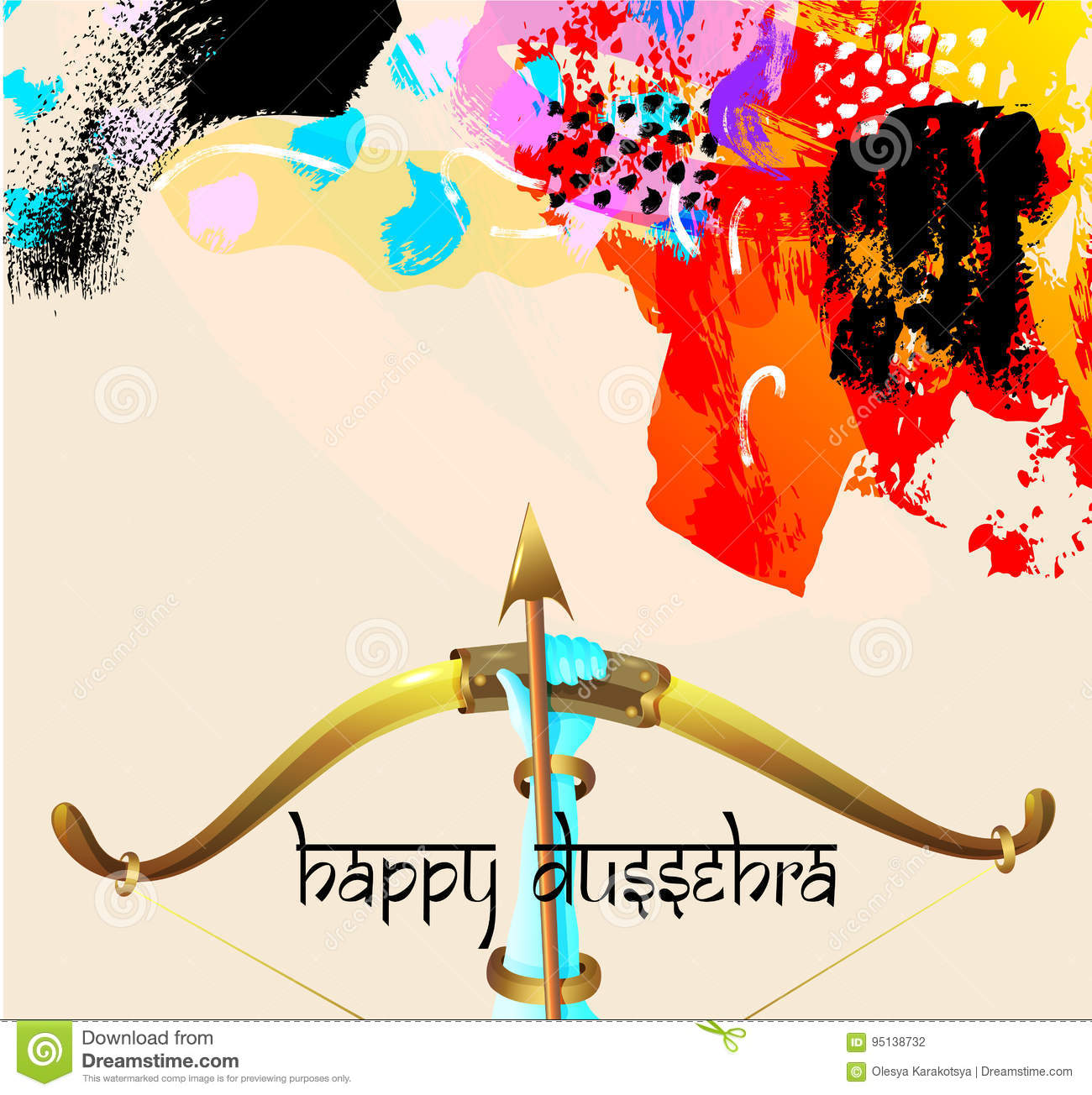 Happy dussehra greeting card with krishna bow stock vector happy dussehra greeting card with krishna bow kristyandbryce Choice Image