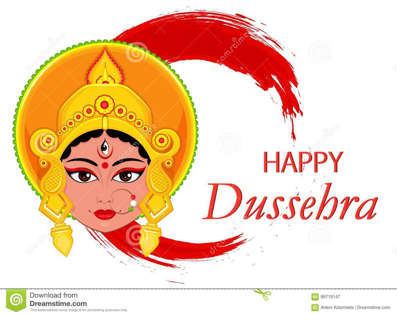 Happy Dussehra Greeting Card Maa Durga Face On Abstract Backgro