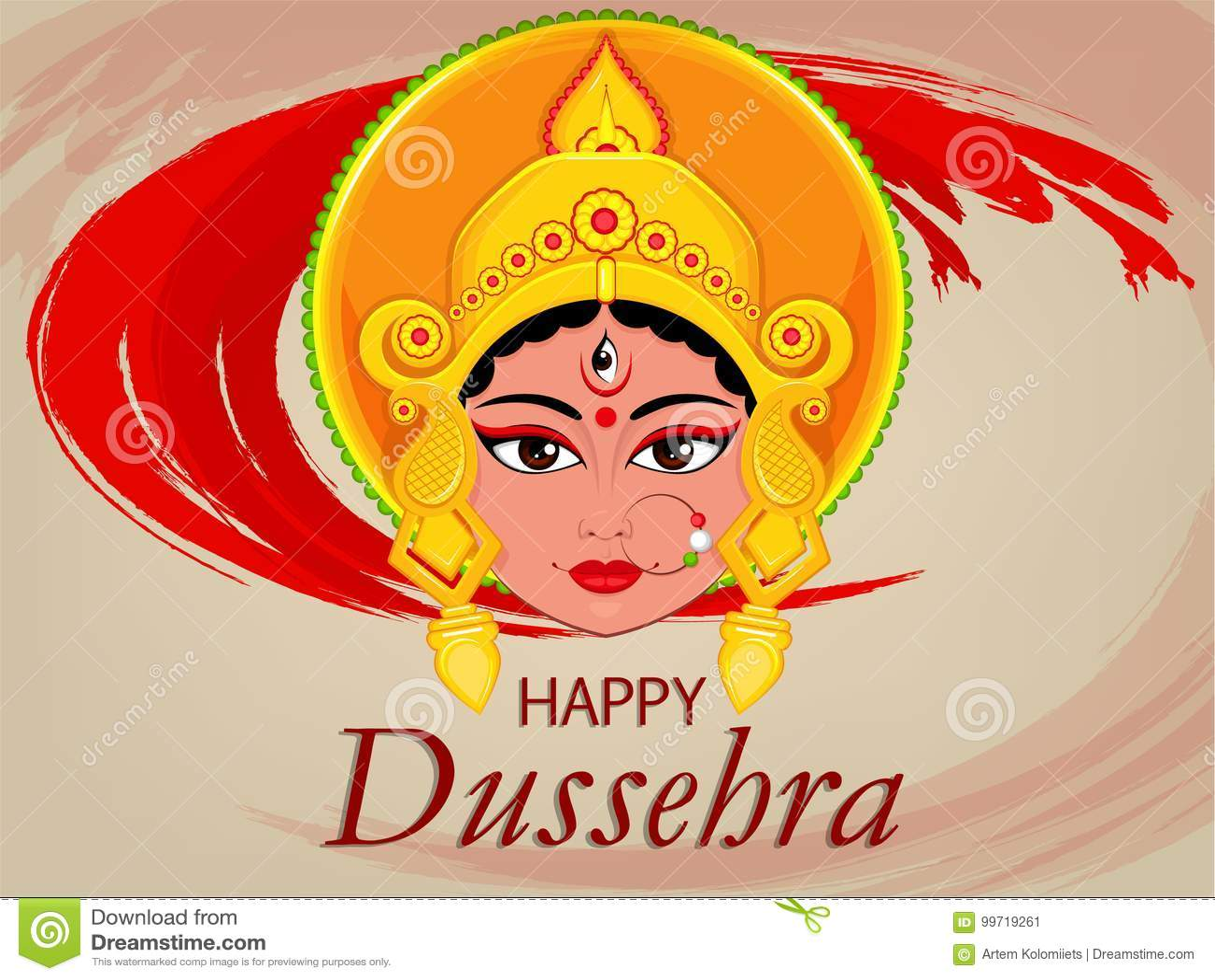 Happy Dussehra Greeting Card Maa Durga Face For Hindu Festival