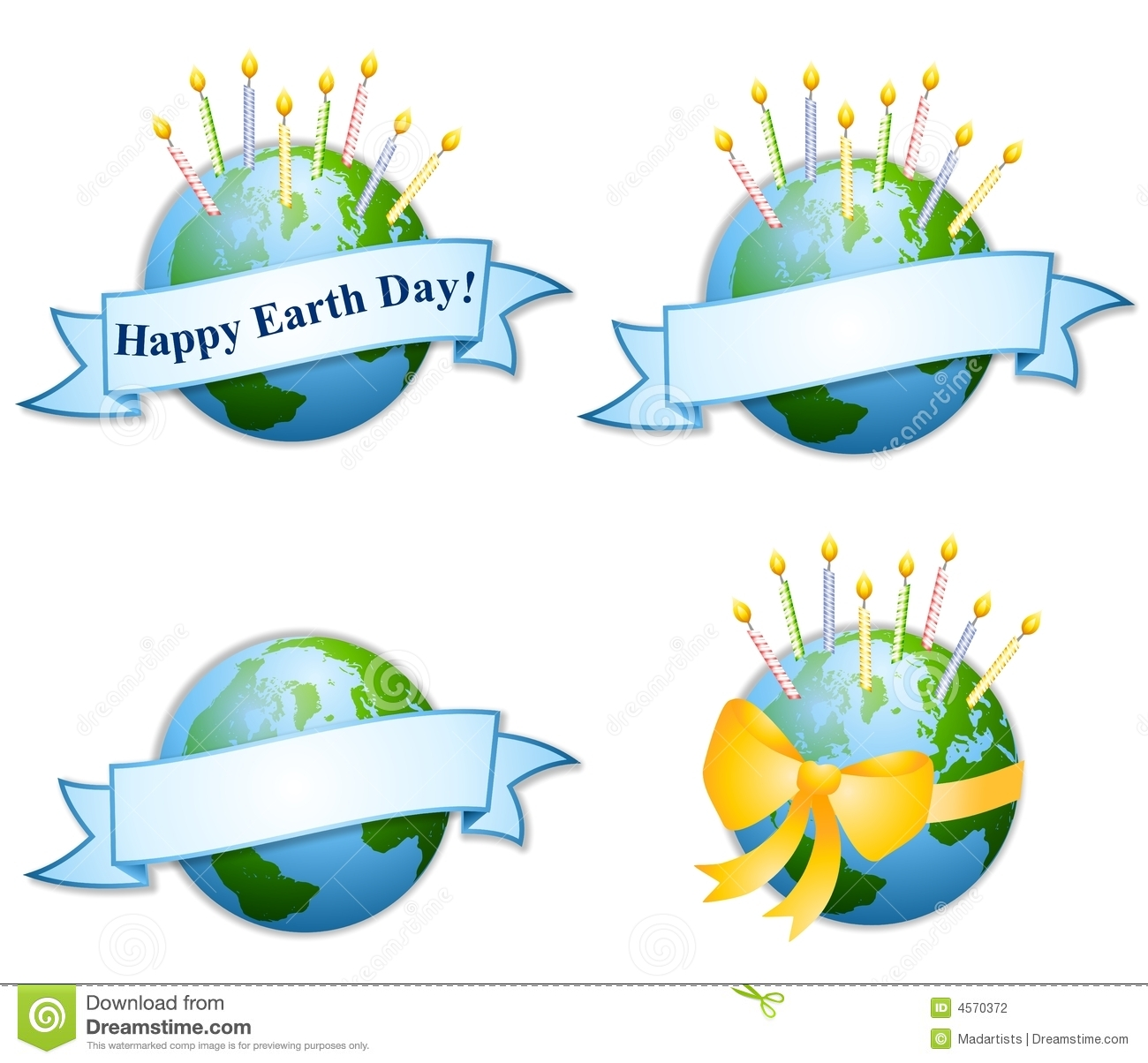 Happy Earth Day Birthday Candles 2 Stock Illustration
