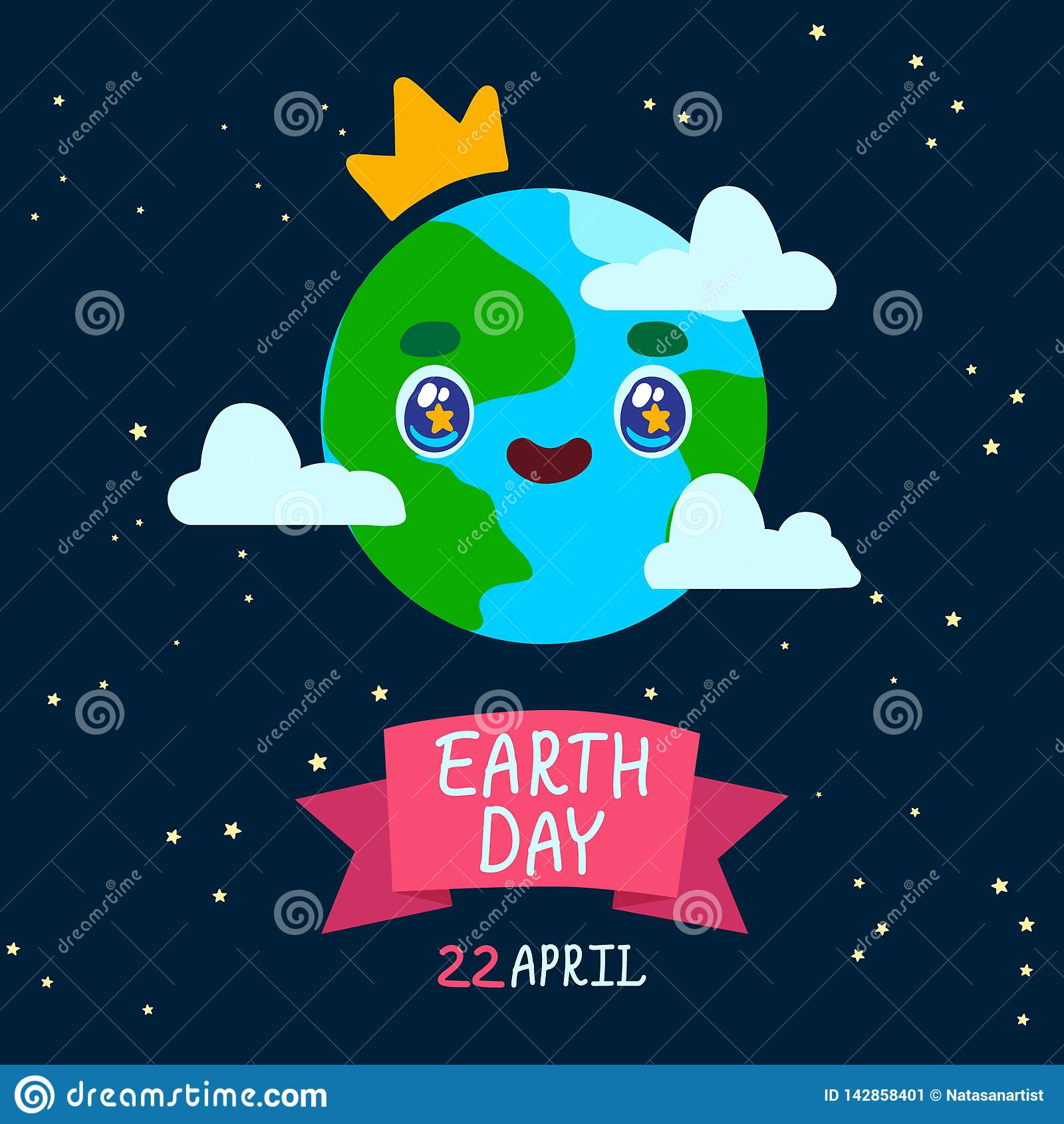 Happy Earth day card. Earth Day Cartoon poster.