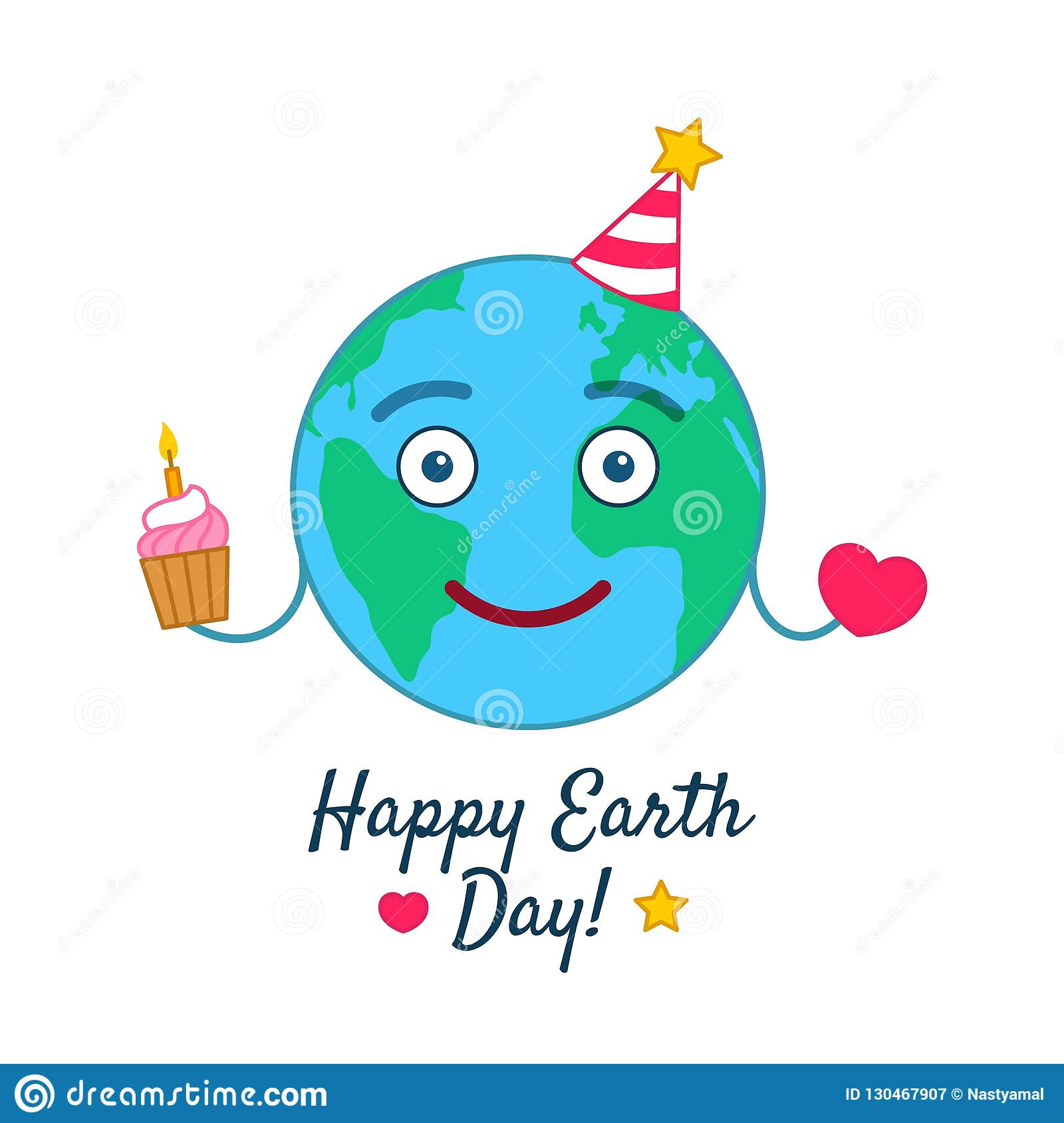 Happy Earth Day Greeting Card With Funny Emoticon Planet In Party Hat Holding Birthday Cake And Red Heart Emoji Vector Illustration