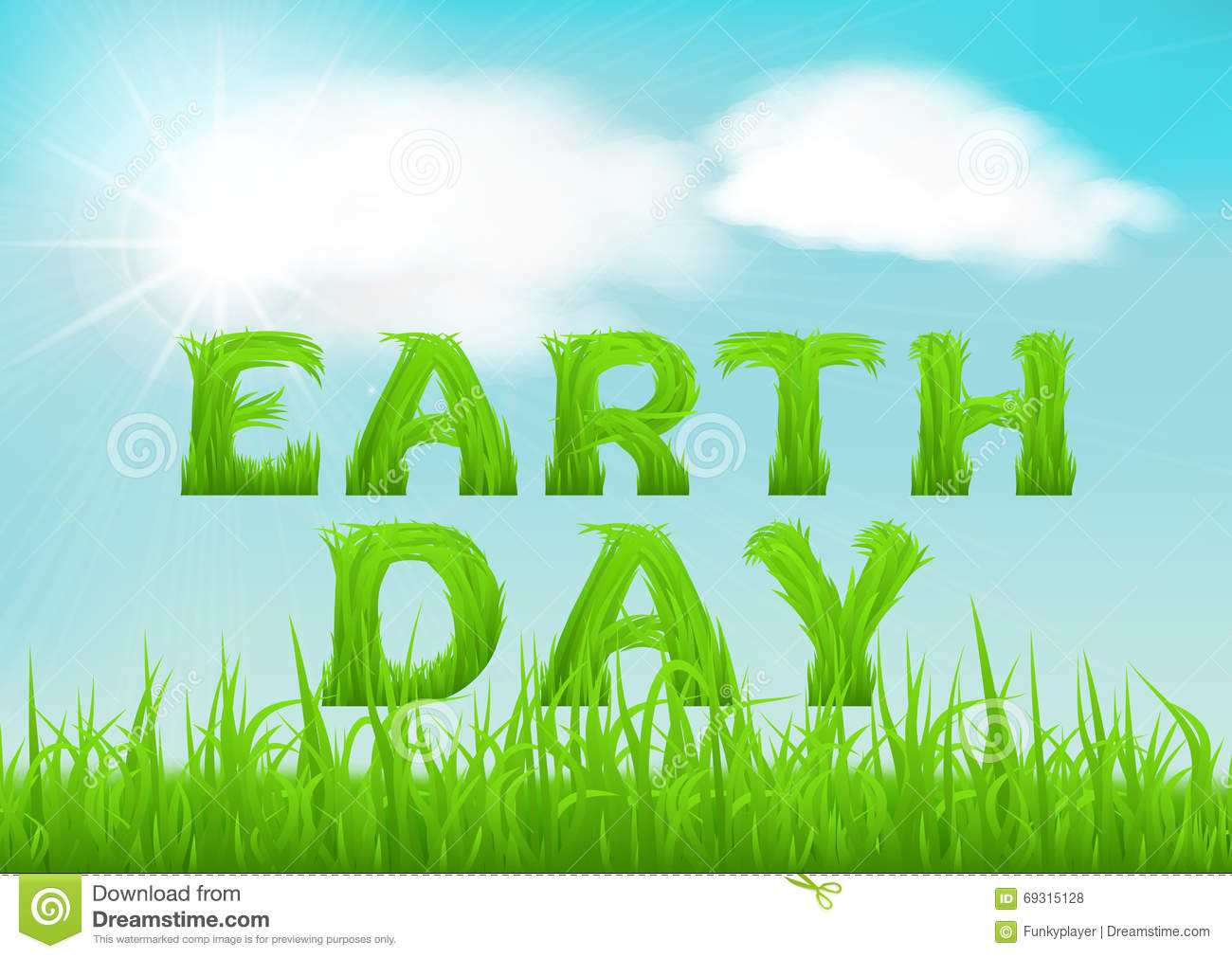 Happy Earth Day Greeting Card Nature Background With Green Grass On