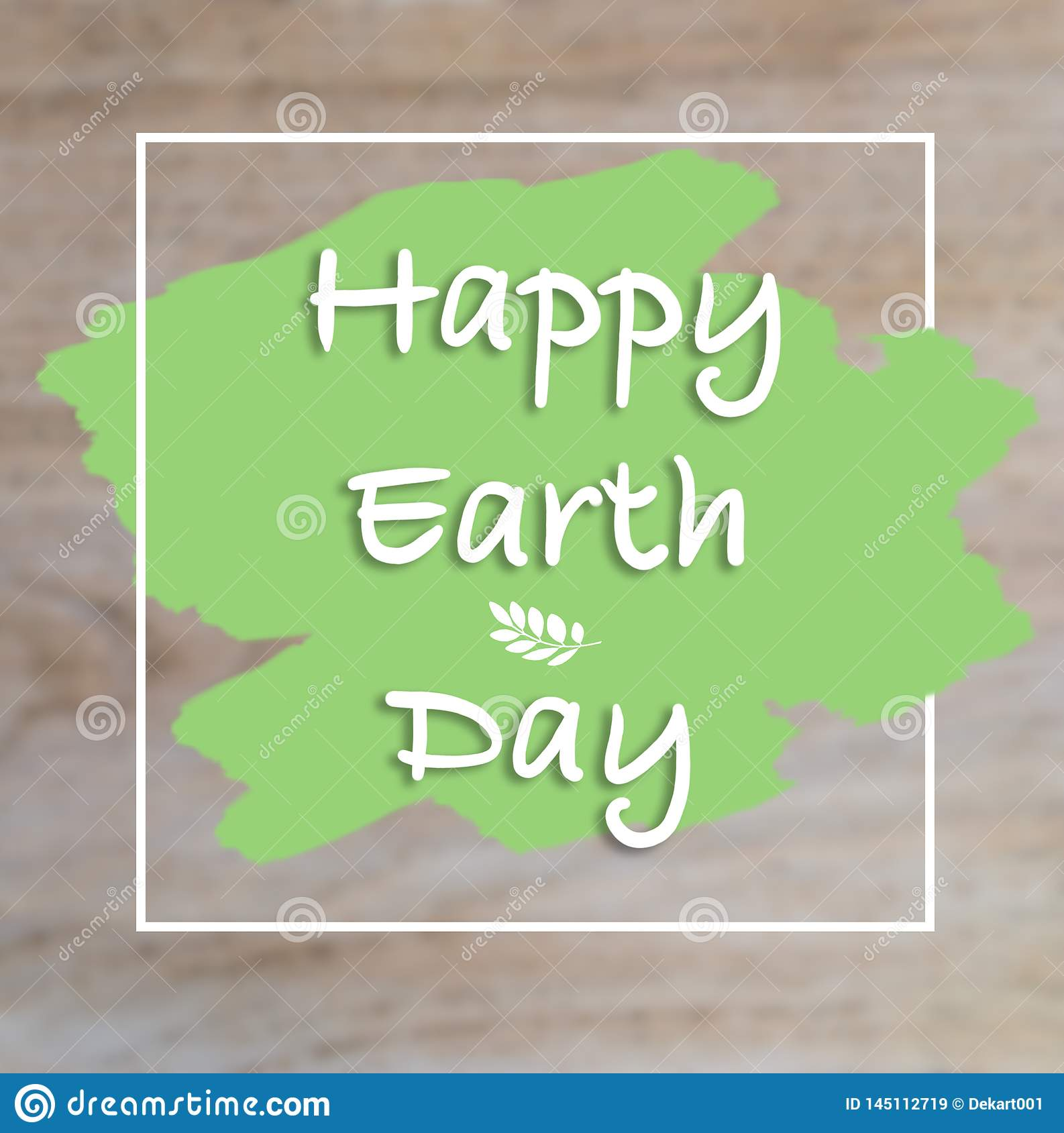Happy Earth Day hand lettering card, background.