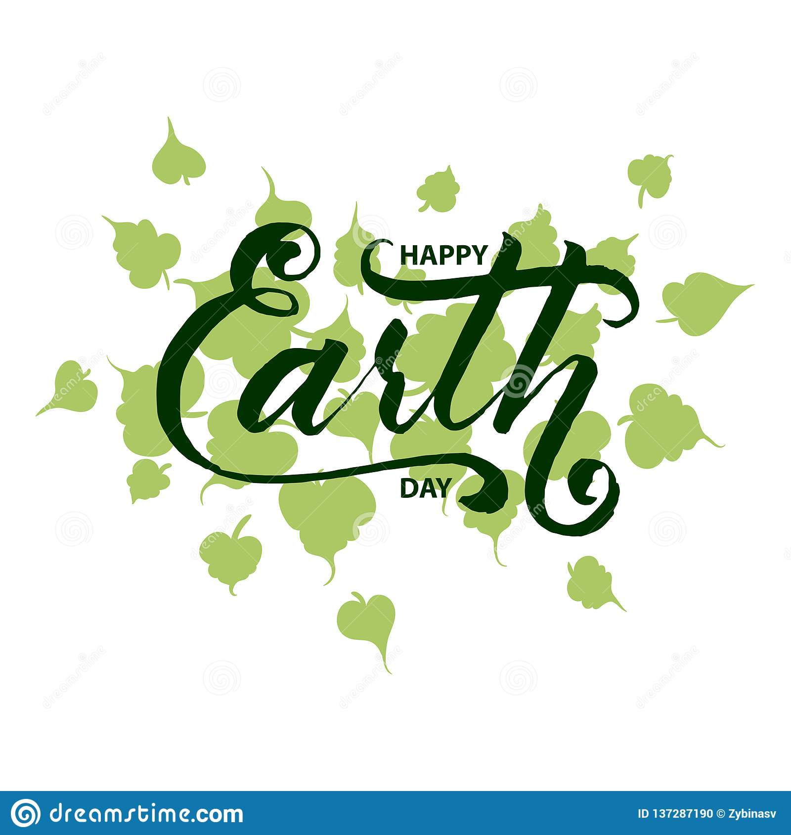 Happy Earth day hand lettering card, background. Vector illustration with leaves for poster, greeting card.