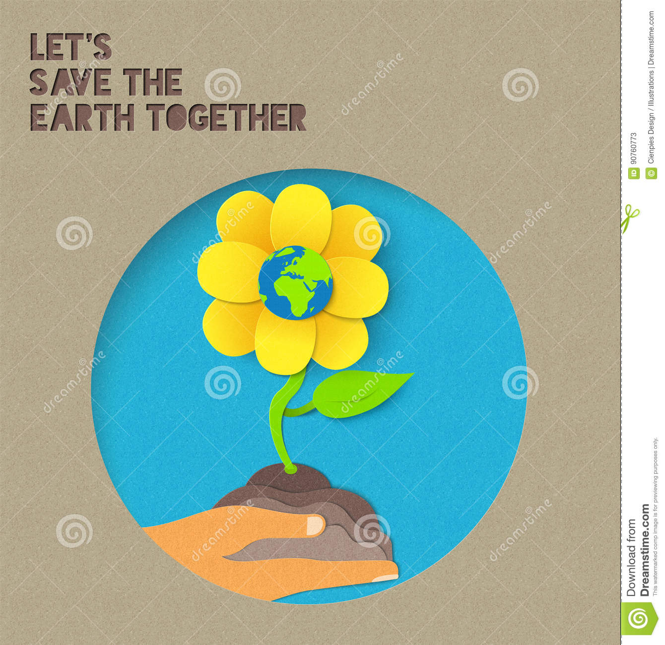 happy earth day paper nature illustration quote stock vector