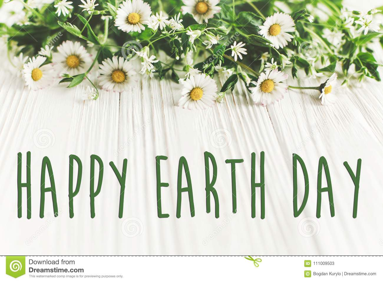 Happy Earth Day Text Sign On Beautiful Daisy Flowers On Rustic W