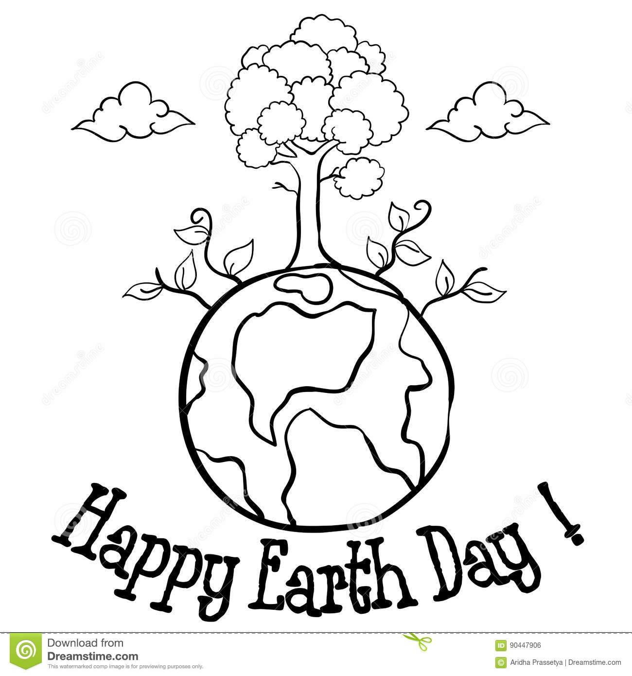 Happy Earth Day With Tree Hand Draw Stock Vector ...