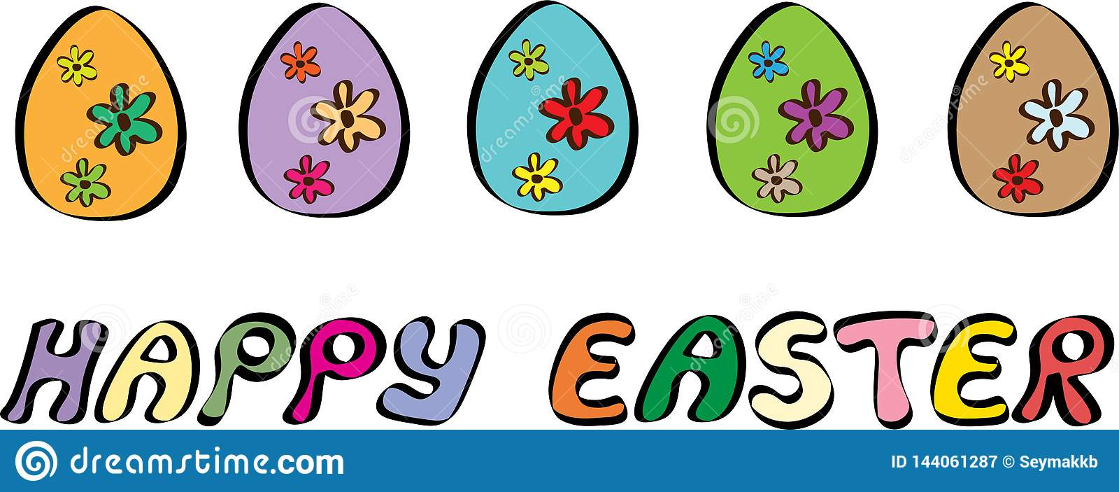 Happy Easter Banner With Five Eggs Illustration