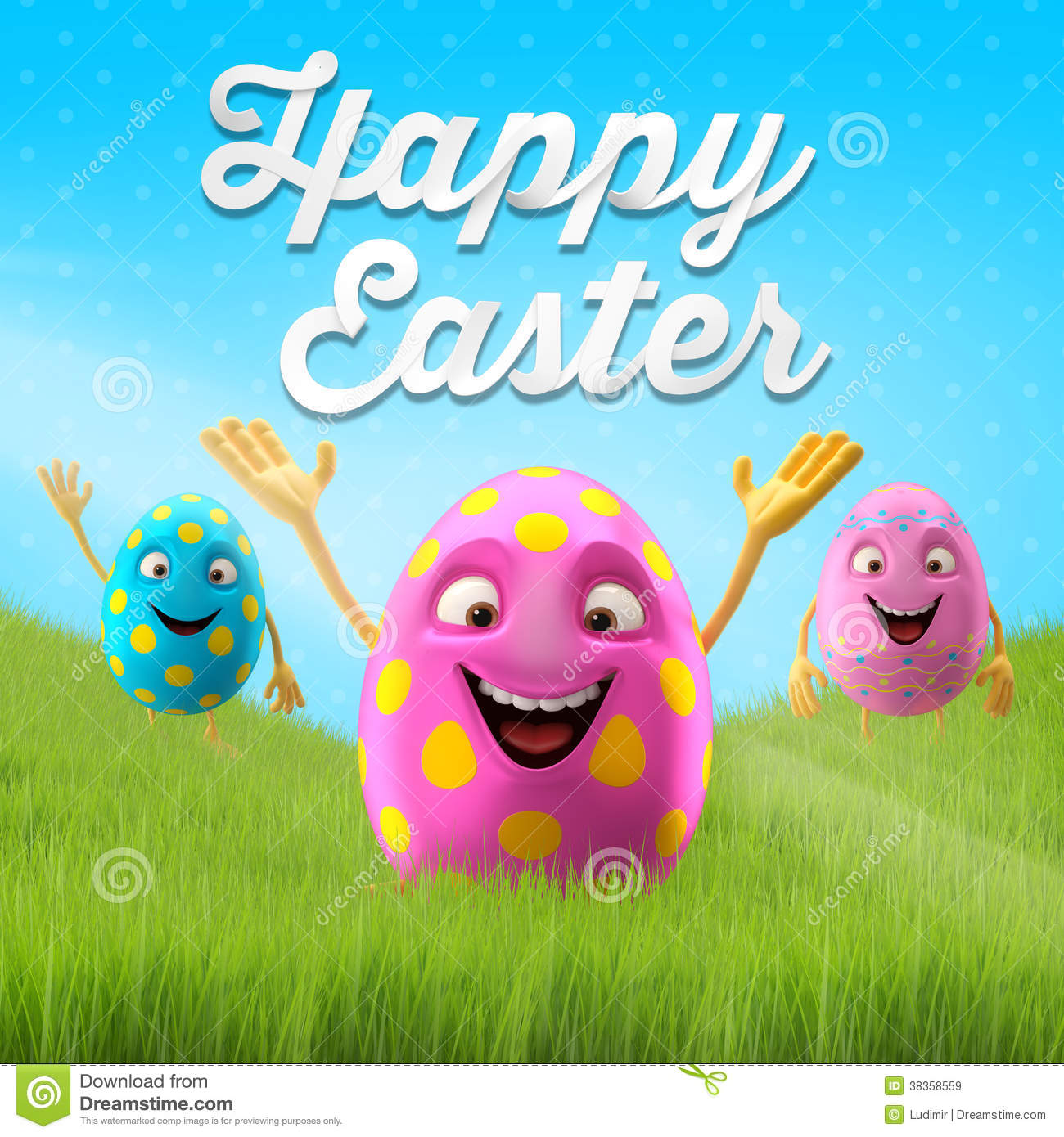 happy easter amazing 3d postcard  banner  background royalty free stock images