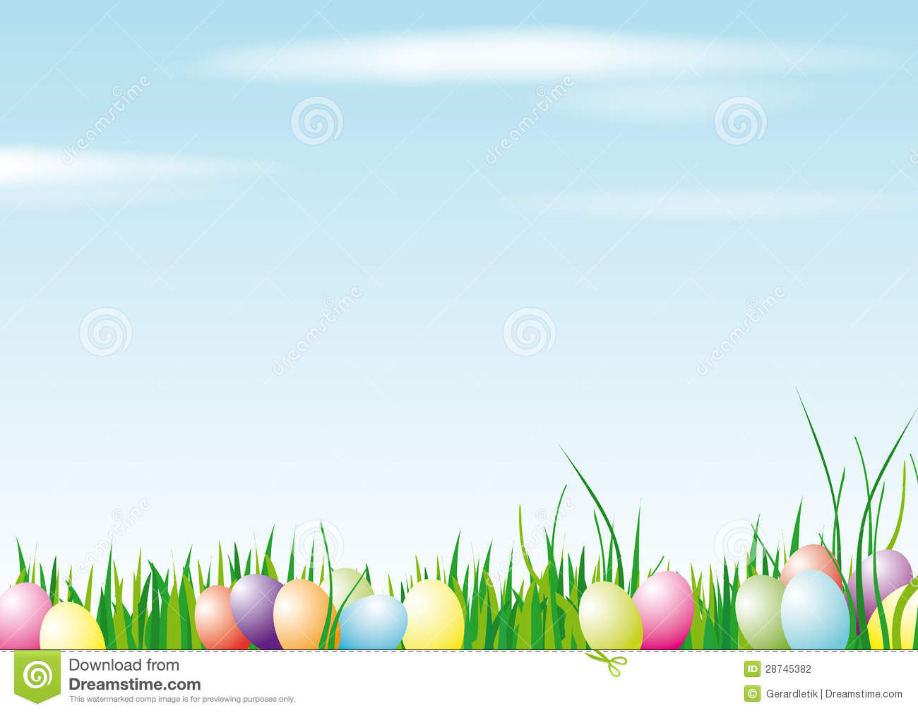 Vector illustration of colored easter eggs on grass with a bright sky ...