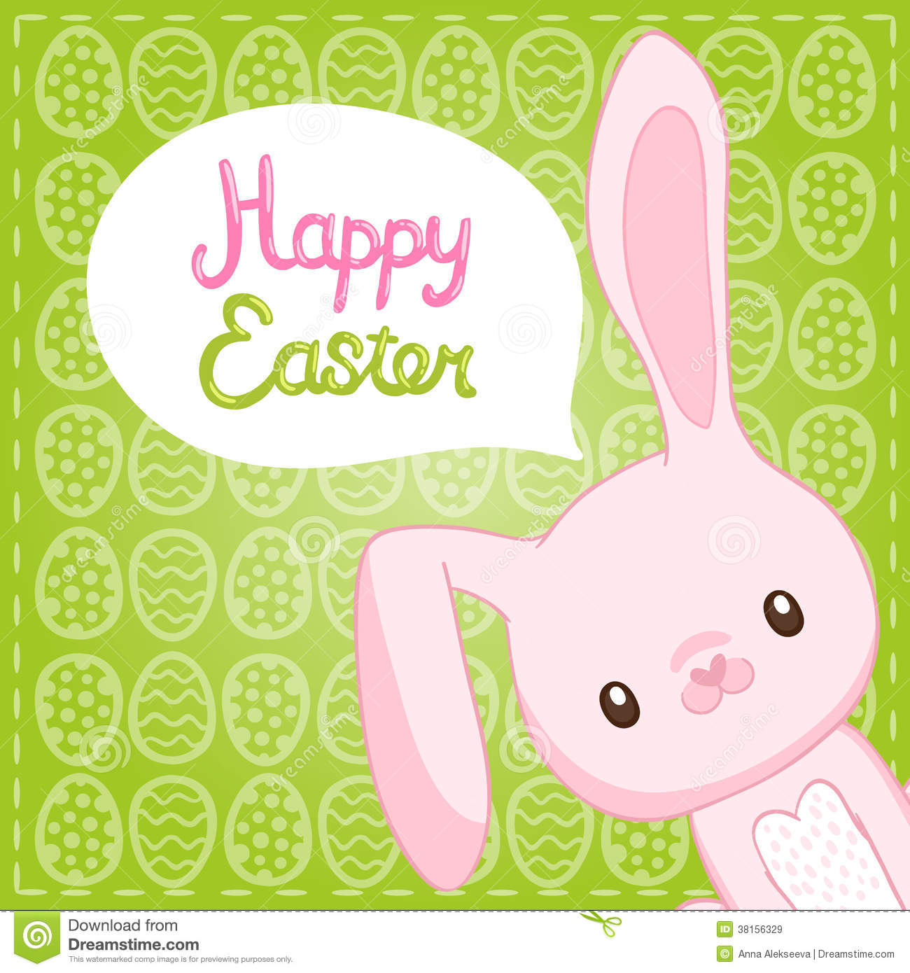 Happy Easter Background With Cartoon Cute Bunny Royalty ...