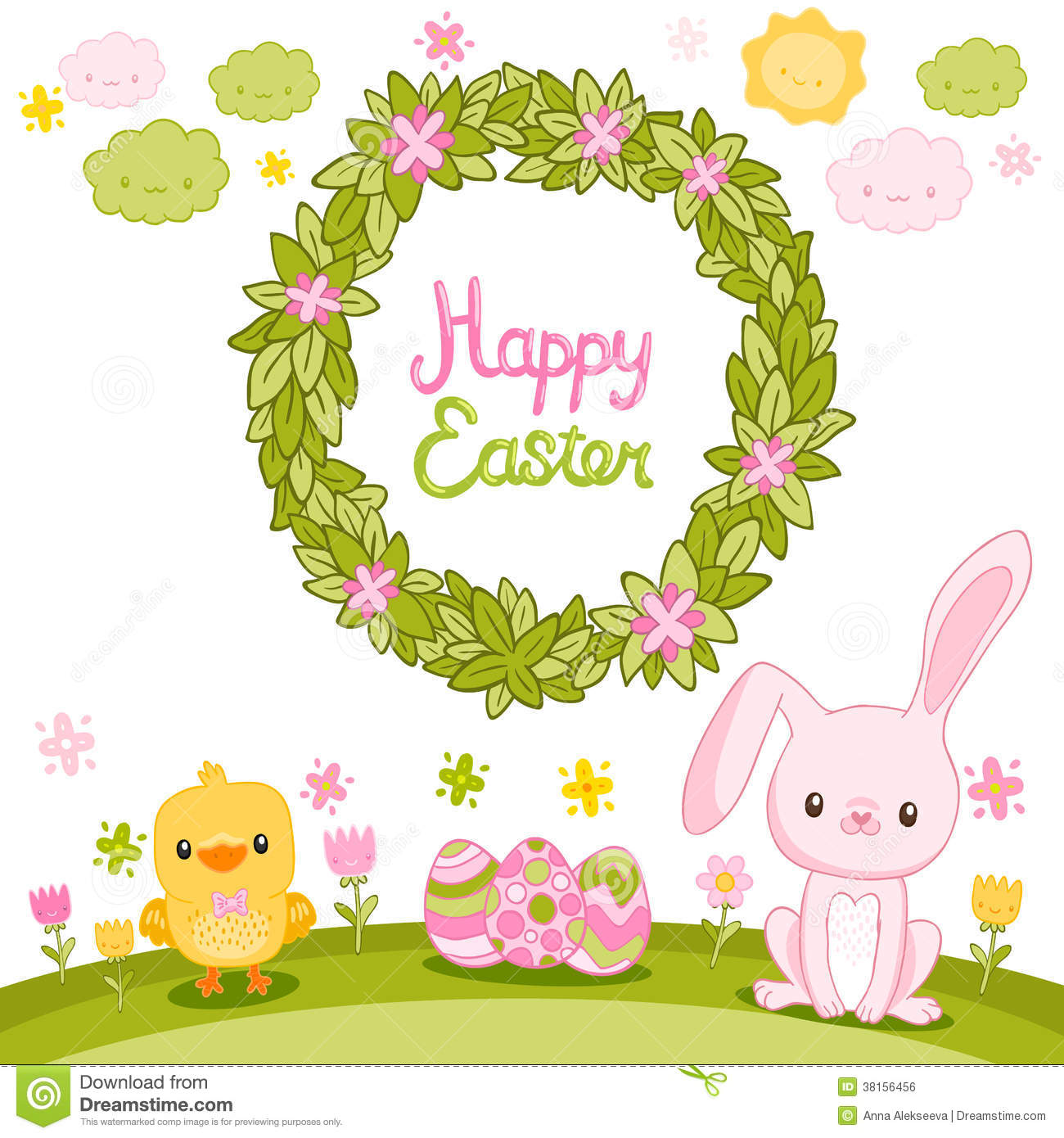 happy easter background with cartoon cute bunny royalty free stock