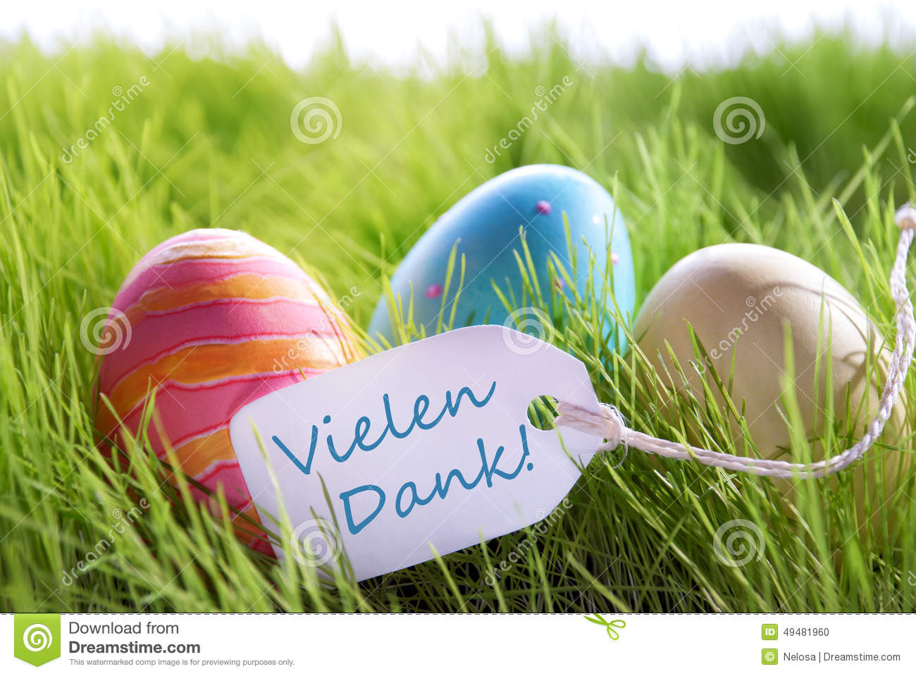 Happy Easter Background With Colorful Eggs And Label With German
