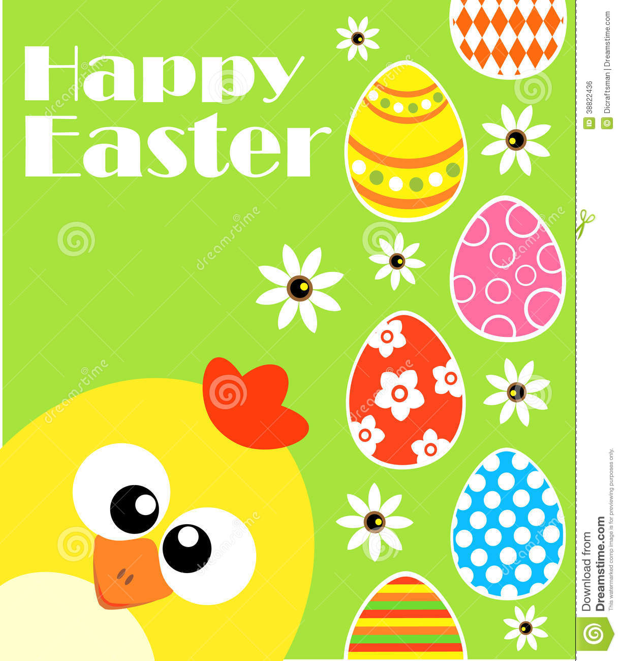 Happy Easter Background With Funny Chicken Green Stock